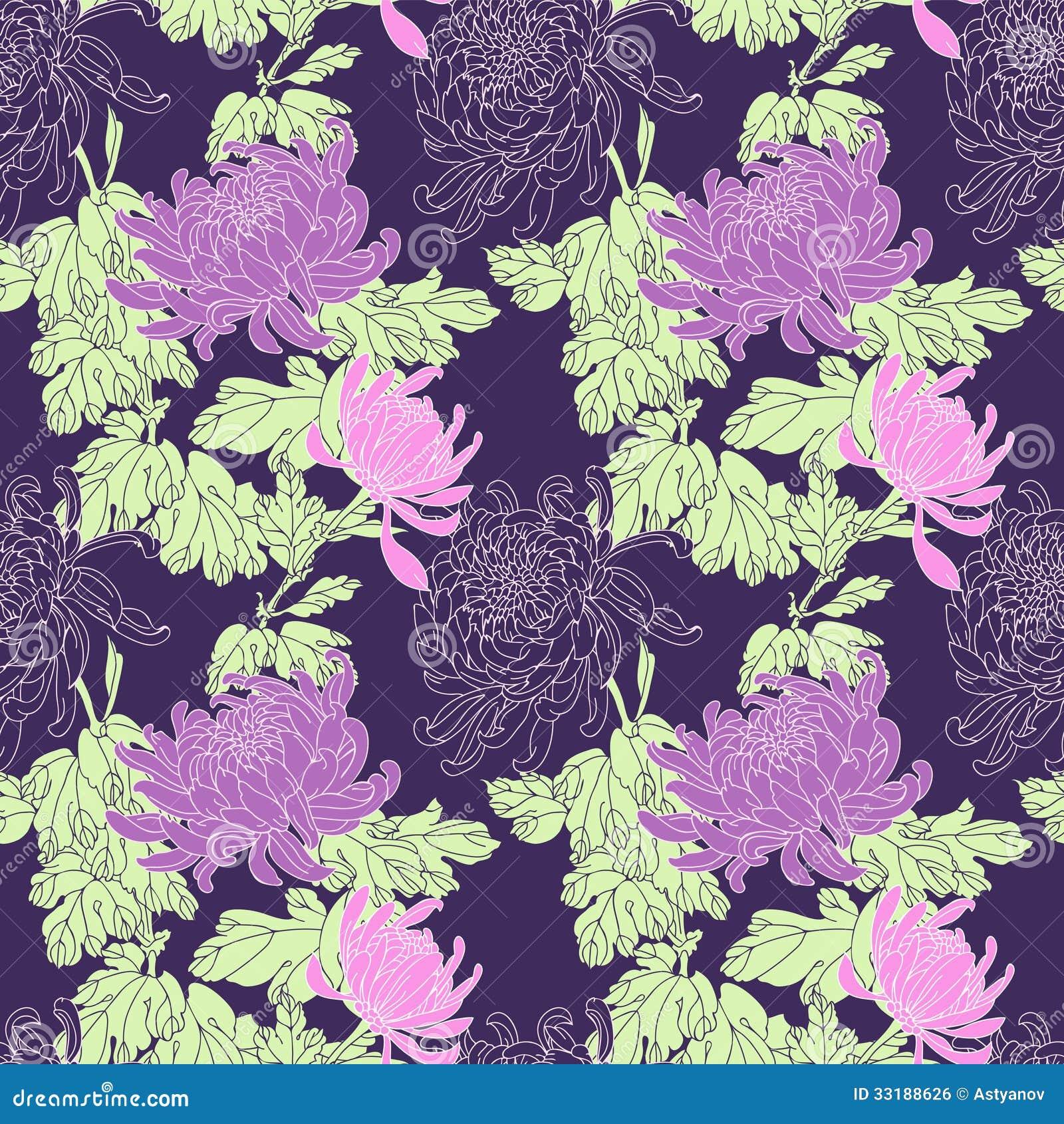Pink floral seamless vector background floral hrysanthemum seamless - Cartoon Chrysanthemum Flower Pattern Realistic Seamless