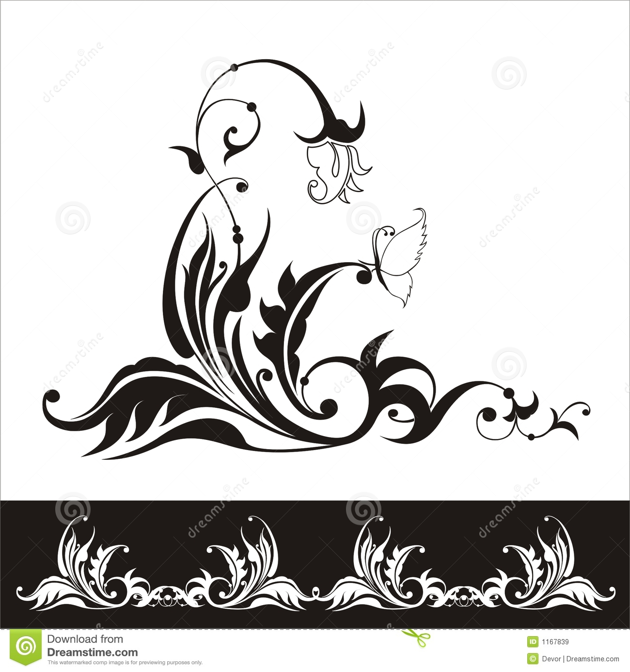 Black Flower Silhouette Pattern Royalty Free Stock Images: Vector Flower Silhouette With Floral Ornament Stock Vector