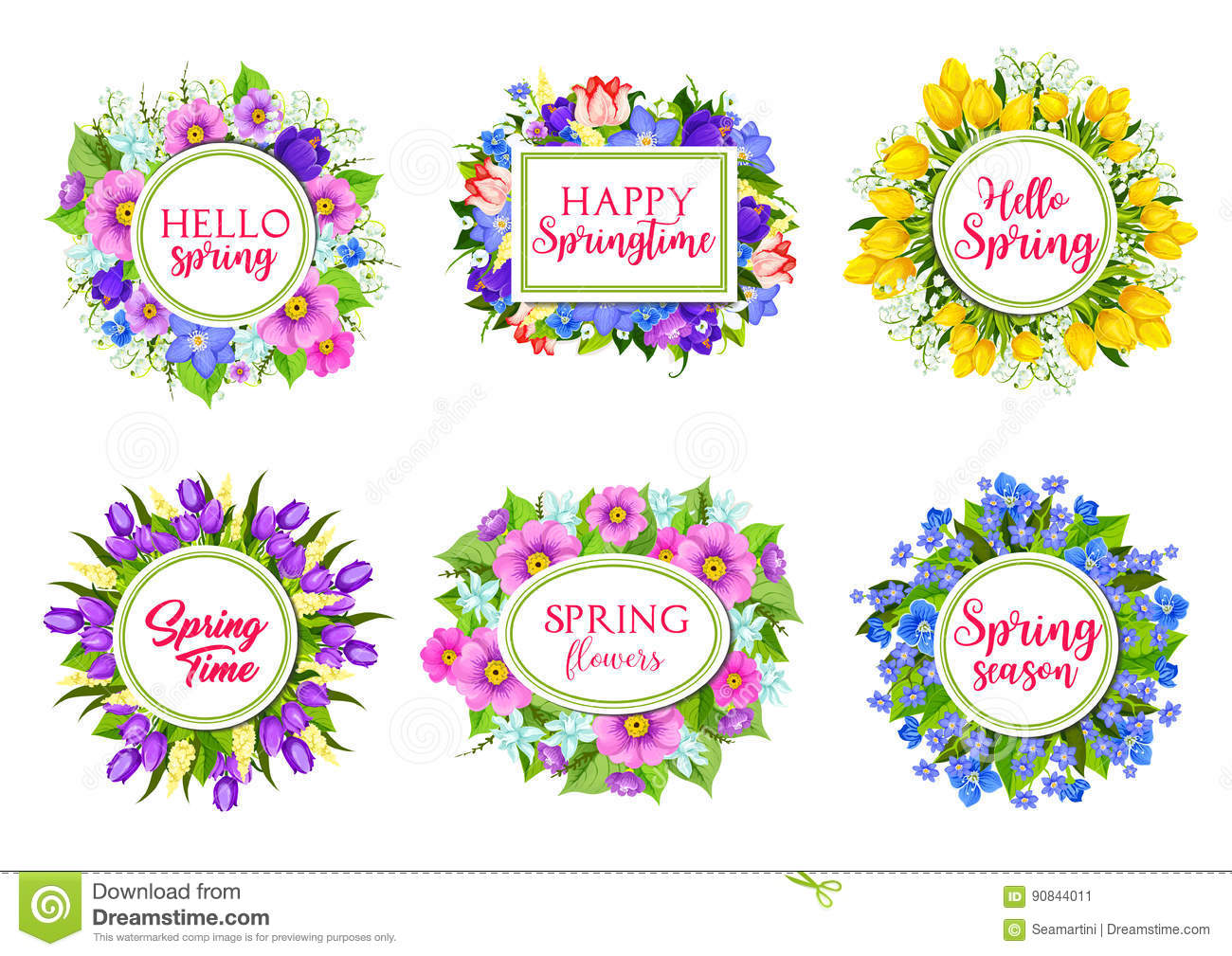 Vector flowers bouquets for hello spring quotes stock vector download vector flowers bouquets for hello spring quotes stock vector illustration of flower narcissus izmirmasajfo
