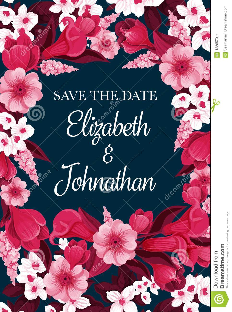 Vector Flowers Card For Save The Date Stock Vector Illustration Of