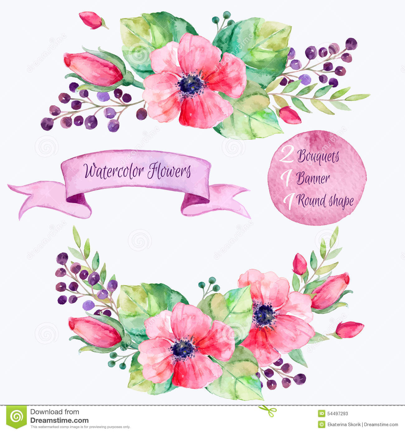 Download Vector Flowers Set.Colorful Floral Collection With Leaves And Flowers,drawing Watercolor. Stock Vector - Illustration of botanical, background: 54497293