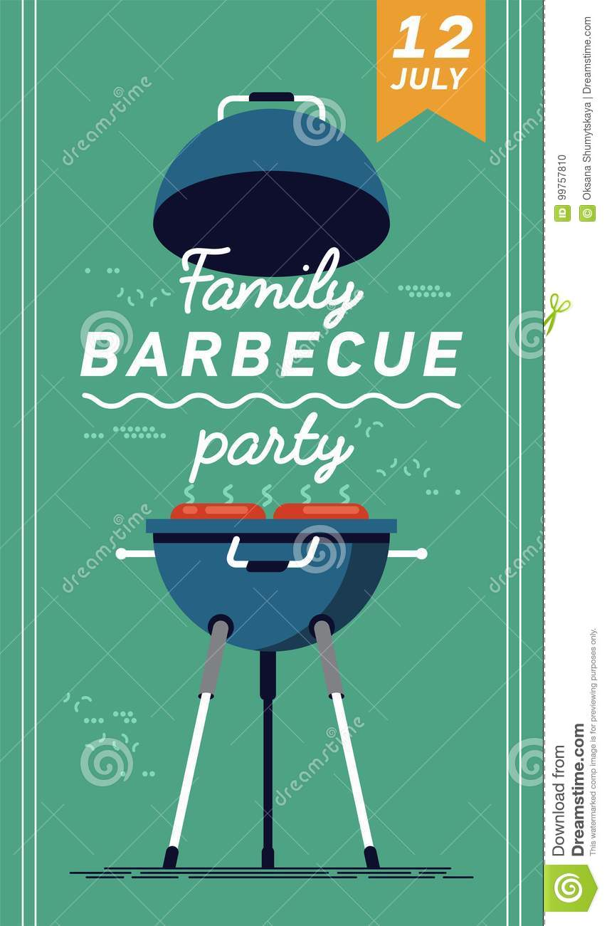 lovely vector flyer or poster template on barbecue party barbecue