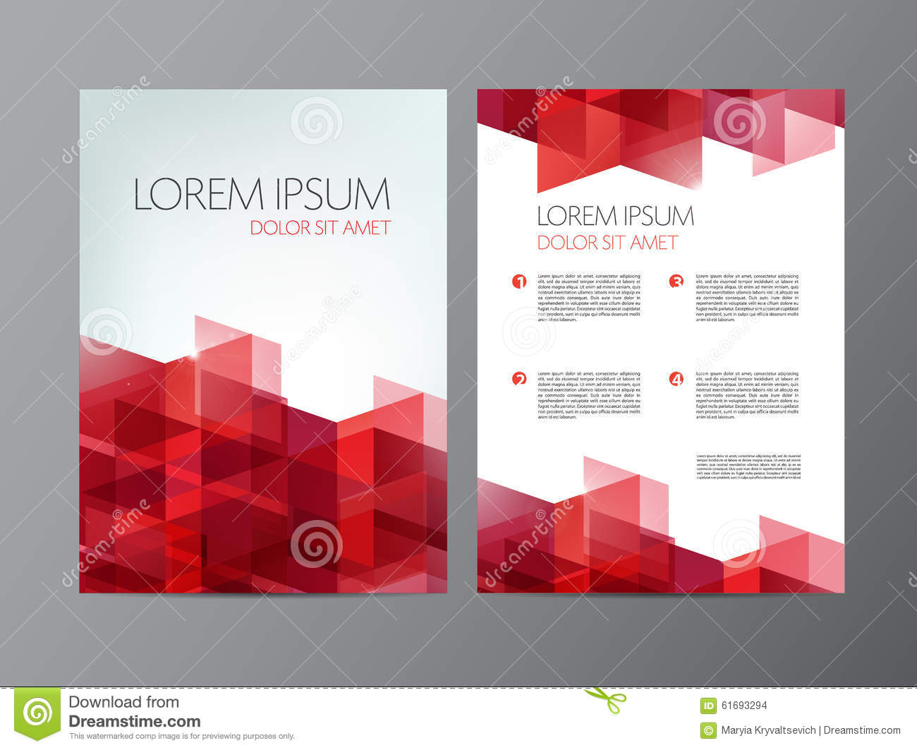 Vector flyer red brochure abstract design 2 sides stock for Red brochure template