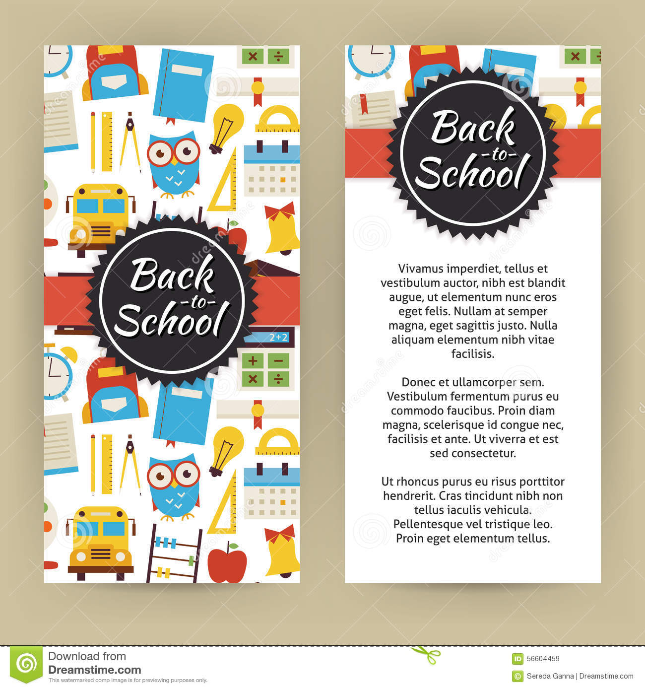 Vector Flyer Template Of Flat Design Back To School And Educatio ...