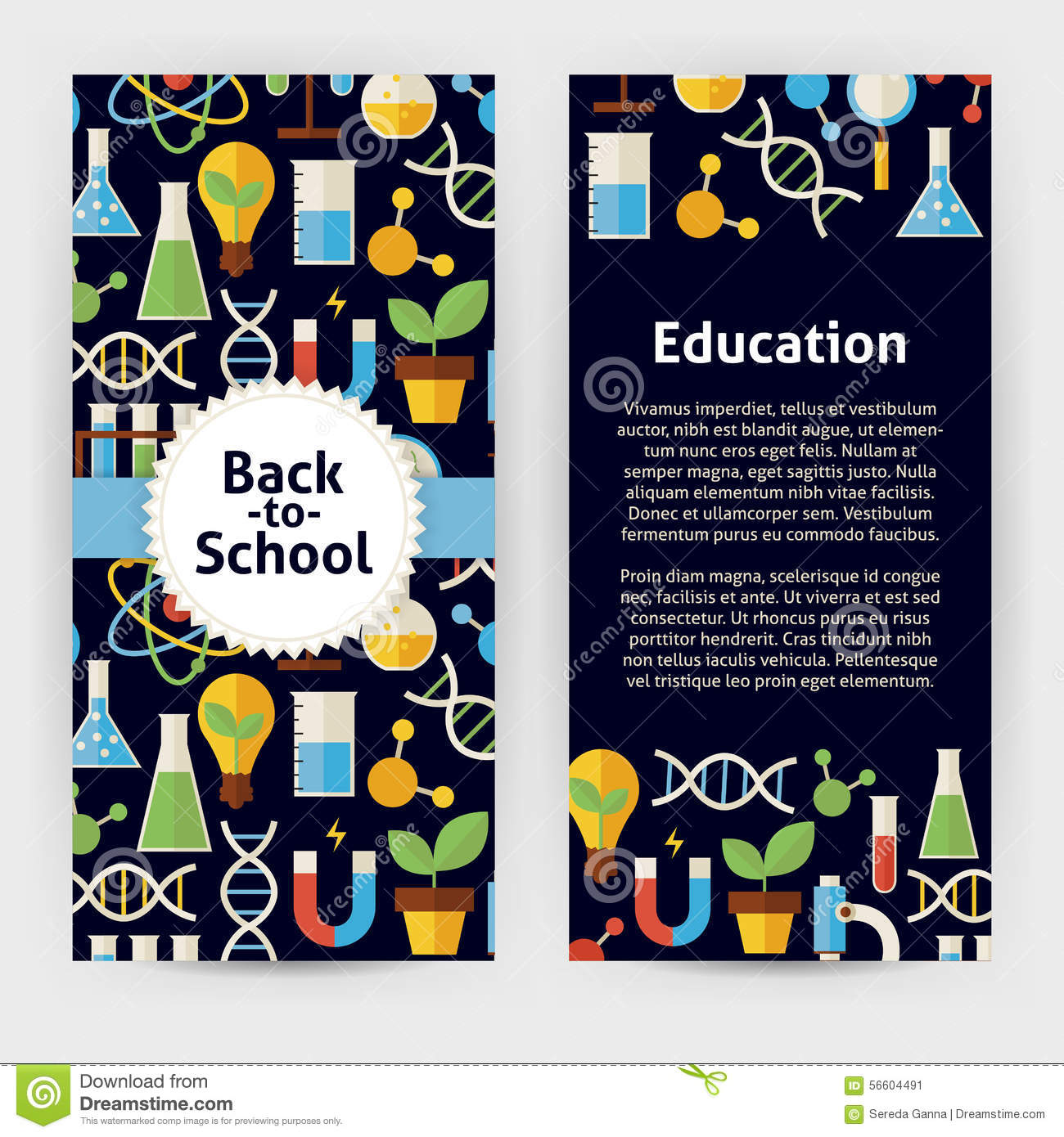 Vector Flyer Template Of Flat Design Back To School Science And