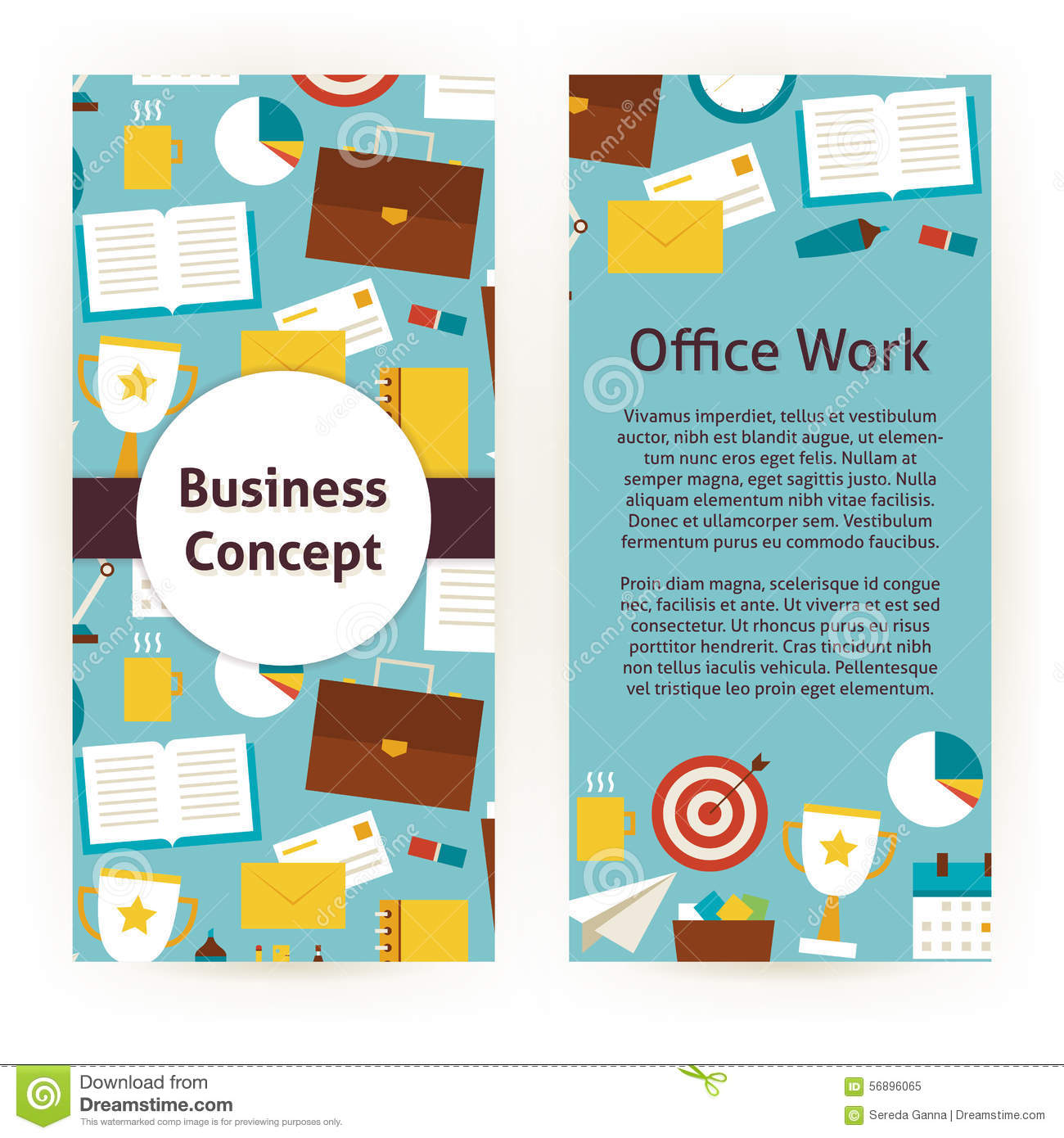 Vector Flyer Template Of Flat Design Business Concept And Office ...