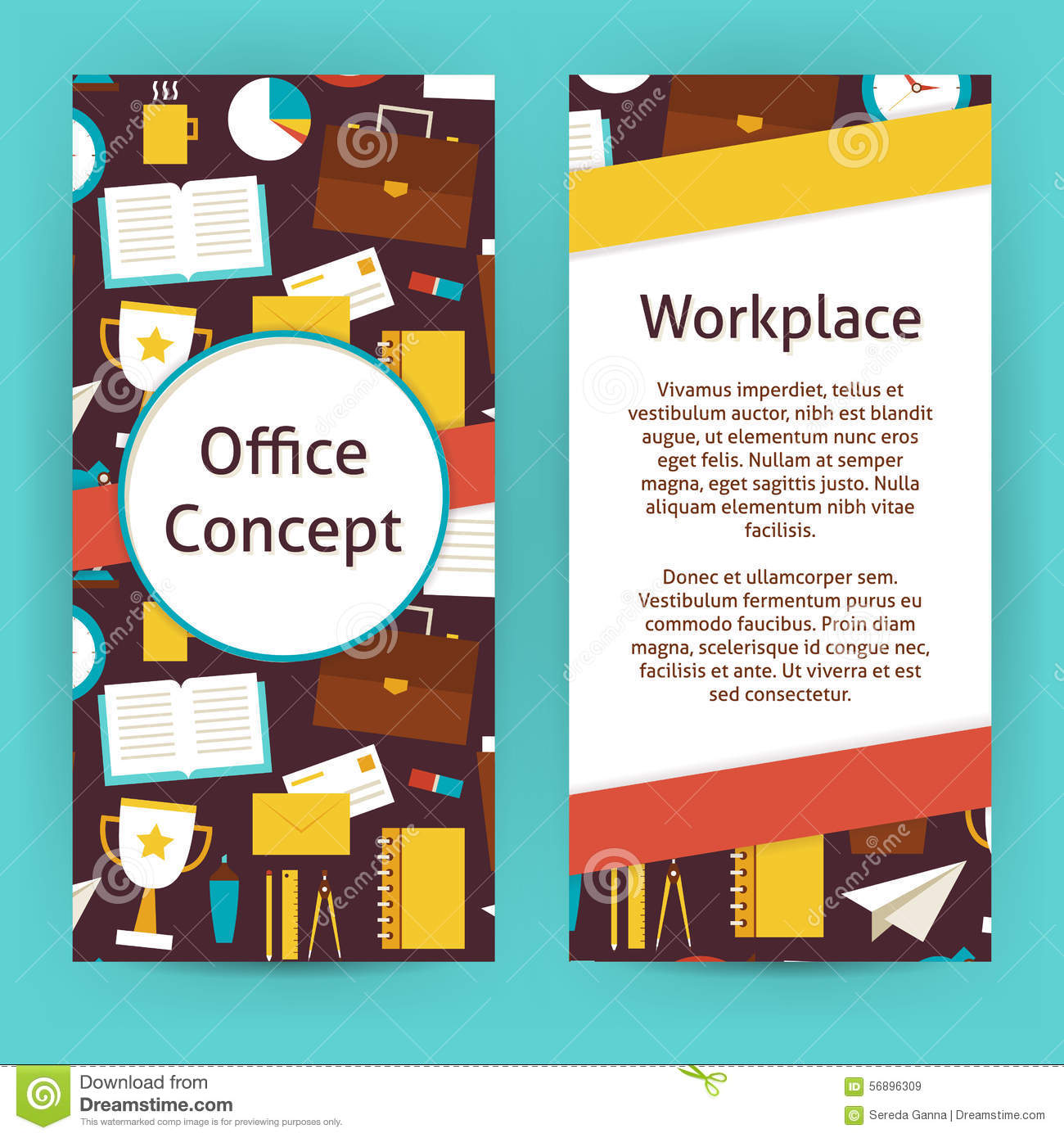 vector flyer template of flat design office concept and workplac vector flyer template of flat design office concept and workplac