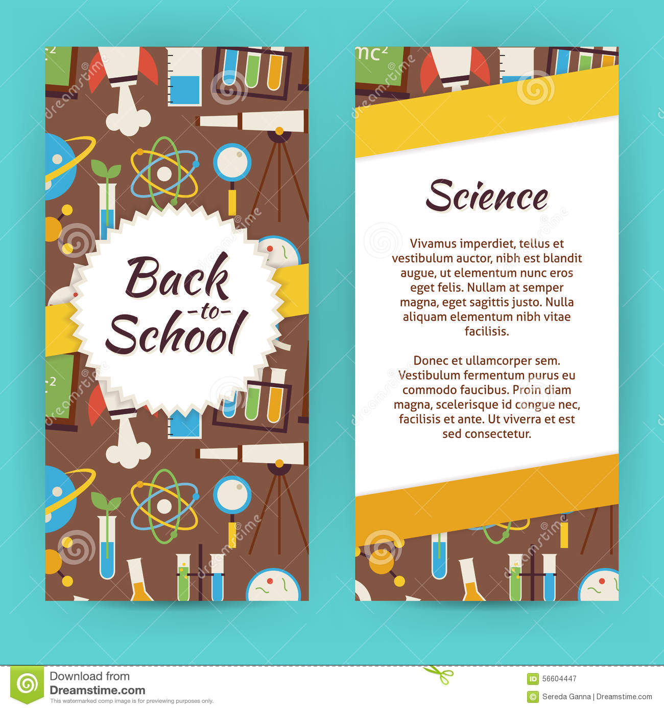 vector flyer template of flat design school knowledge science an