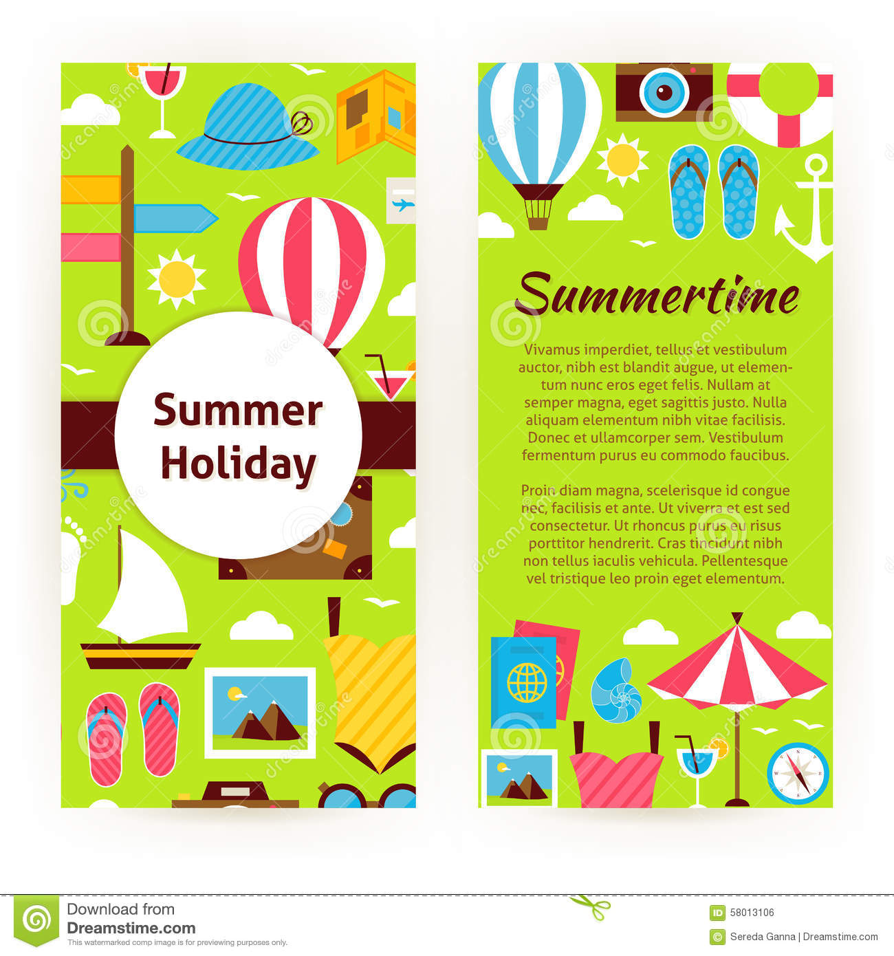 vector flyer template of flat design summer holiday concept stock vector flyer template of flat design summer holiday concept