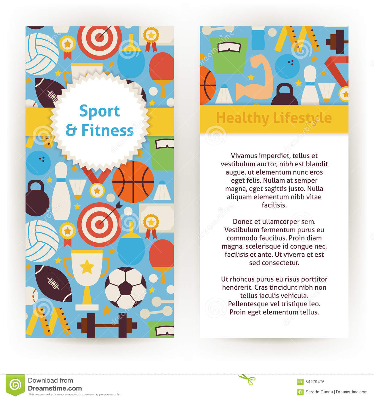 Vector Flyer Template Of Sport And Fitness Objects And Elements