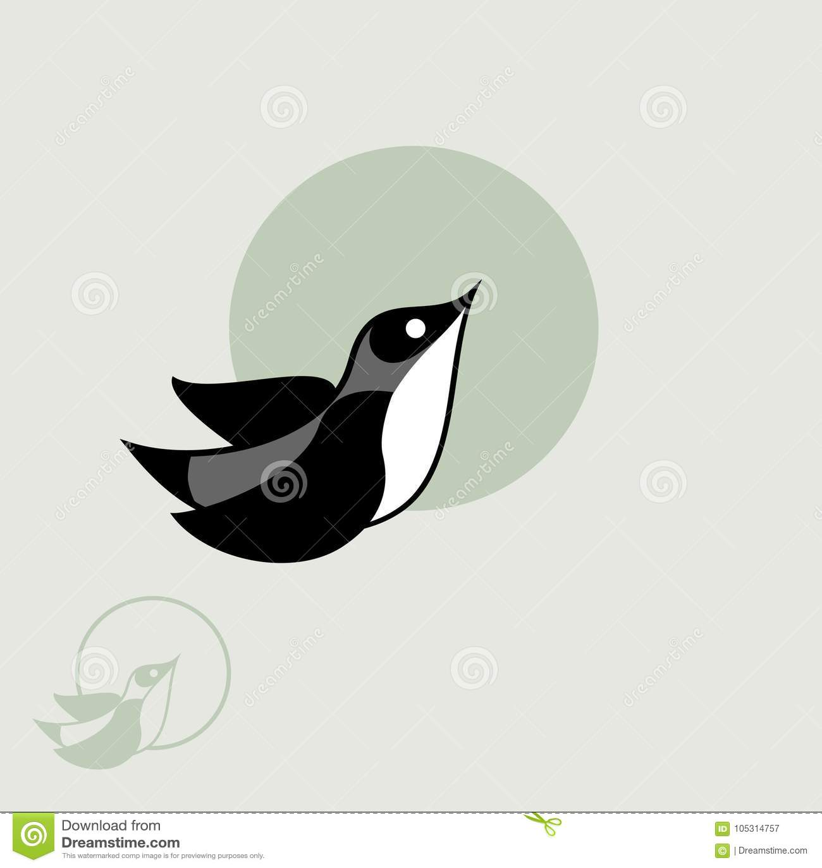 Vector Flying Bird, Logo, Design, Watermark Stock Vector