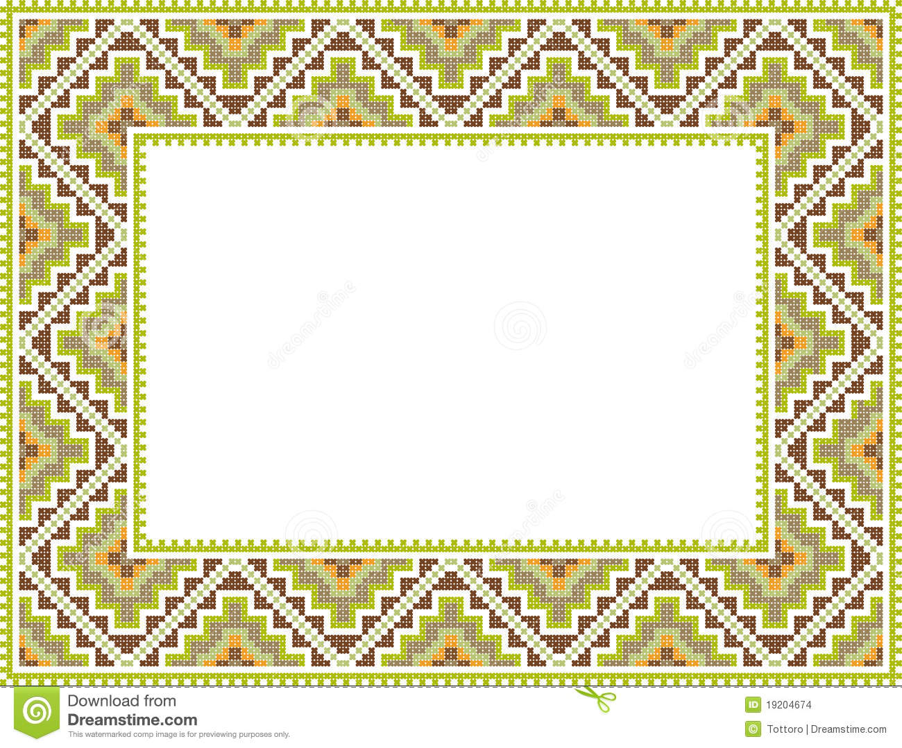 vector folk rectangular frame cross stitch