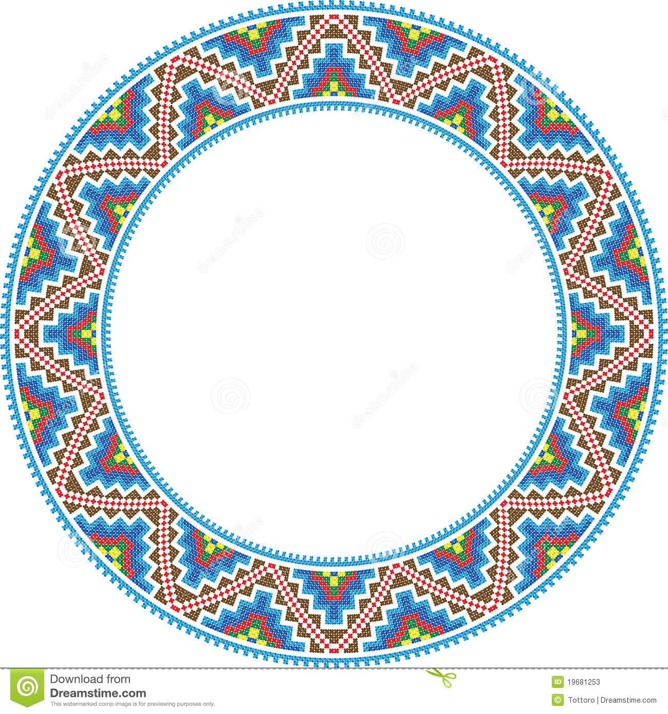 vector folk round frame cross stitch