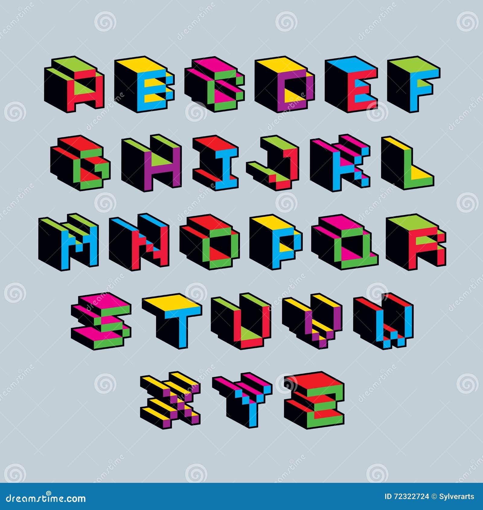 Vector Font, Typescript Created In 8 Bit Style. Pixel Art