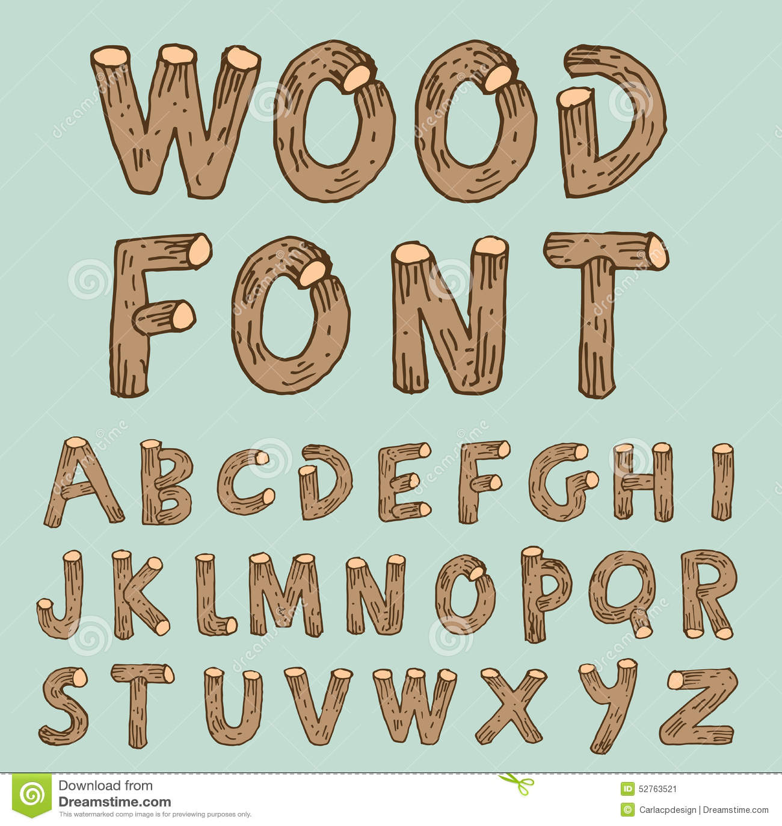 Progressive Logo Design For You Choose The Text Style To: Handwritten Alphabet Wood Set Vector Illustration
