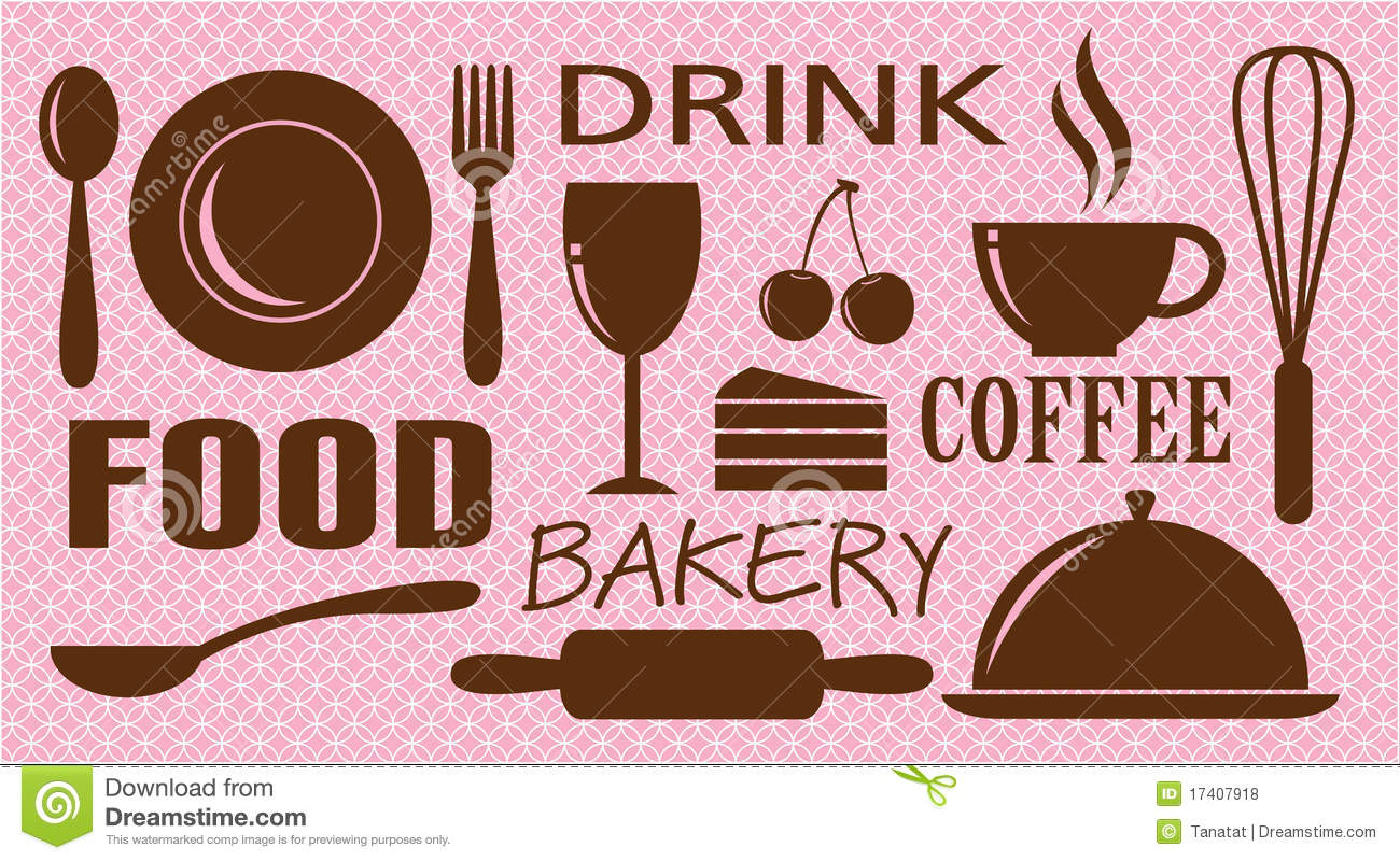 vector of food drink bakery and coffee stock vector