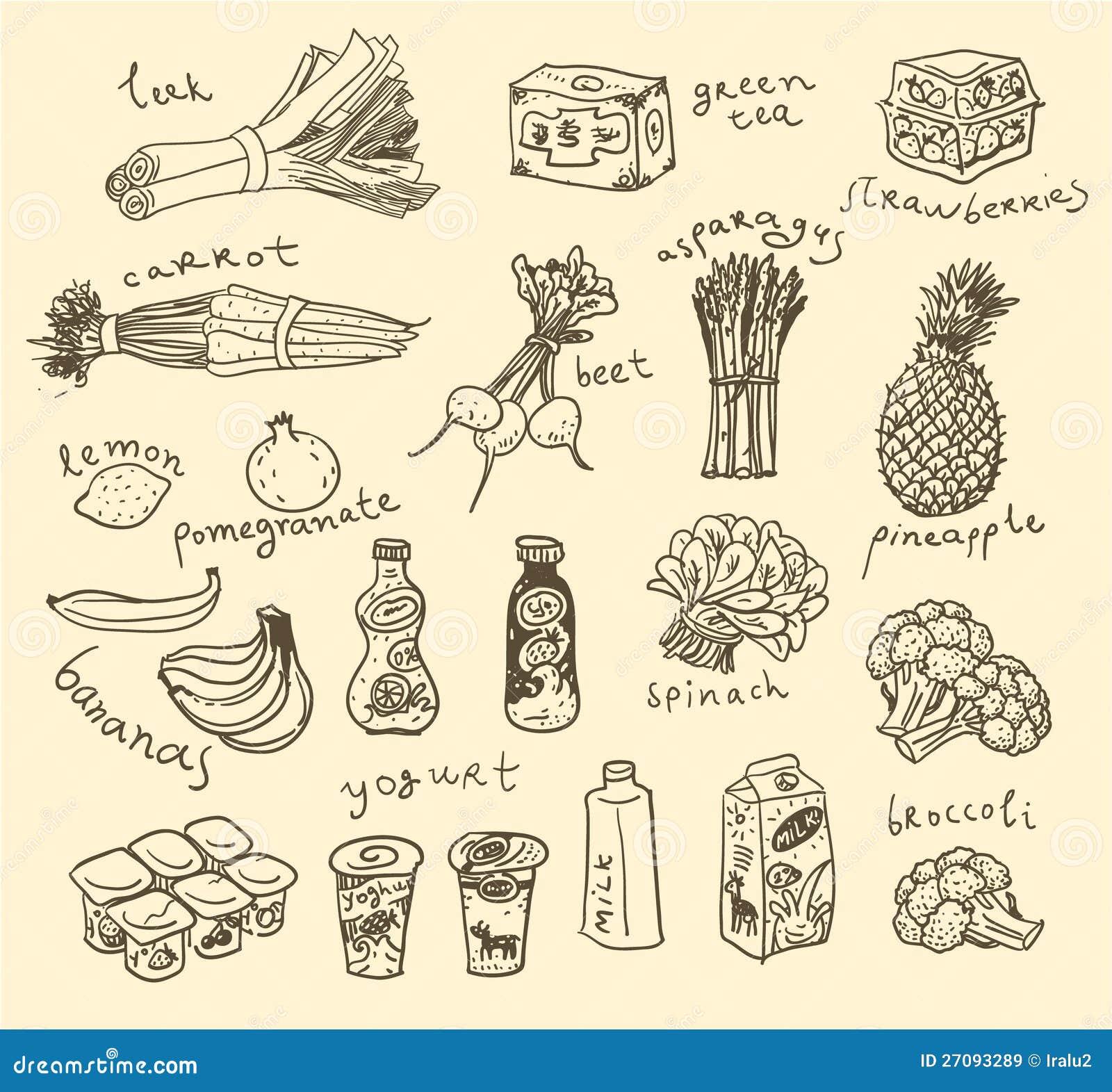 ... tea, fruits & vegetables. Vegetarian Food. Simple vegetable clip art