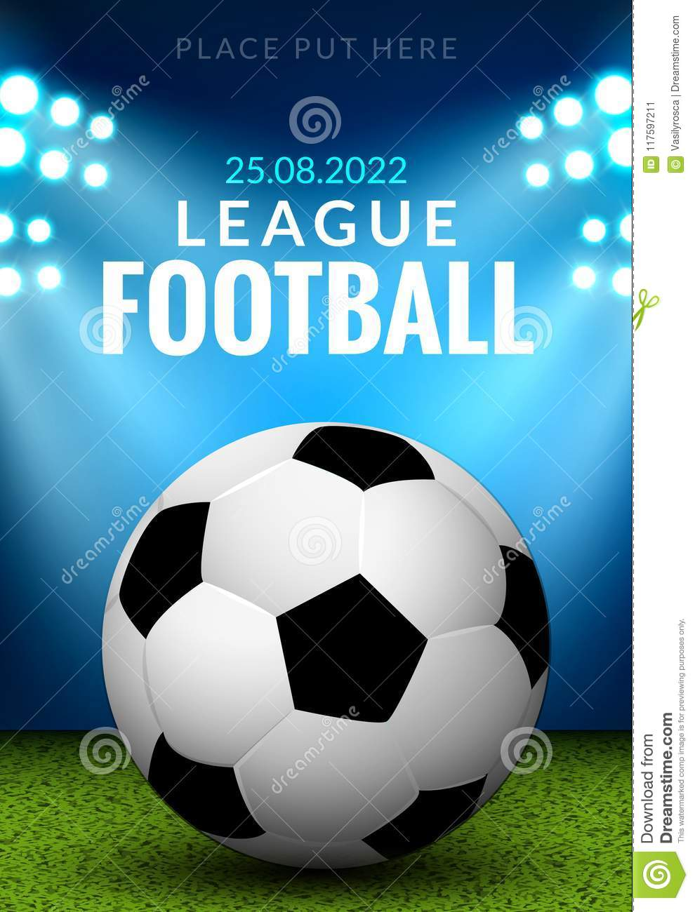 Vector Football Poster Or Flyer Template Soccer Design Sports Game