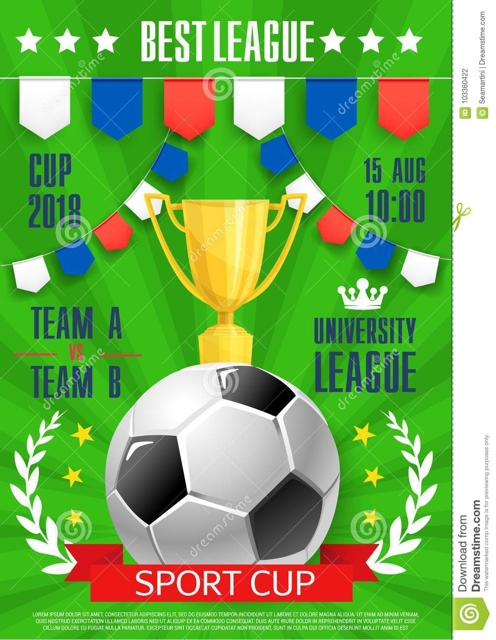 vector football poster soccer college league cup stock vector