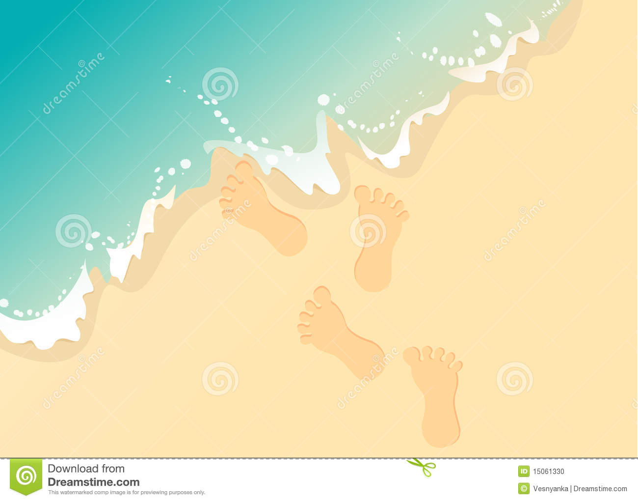 Vector Footprints In The Sand Stock Vector Illustration Of