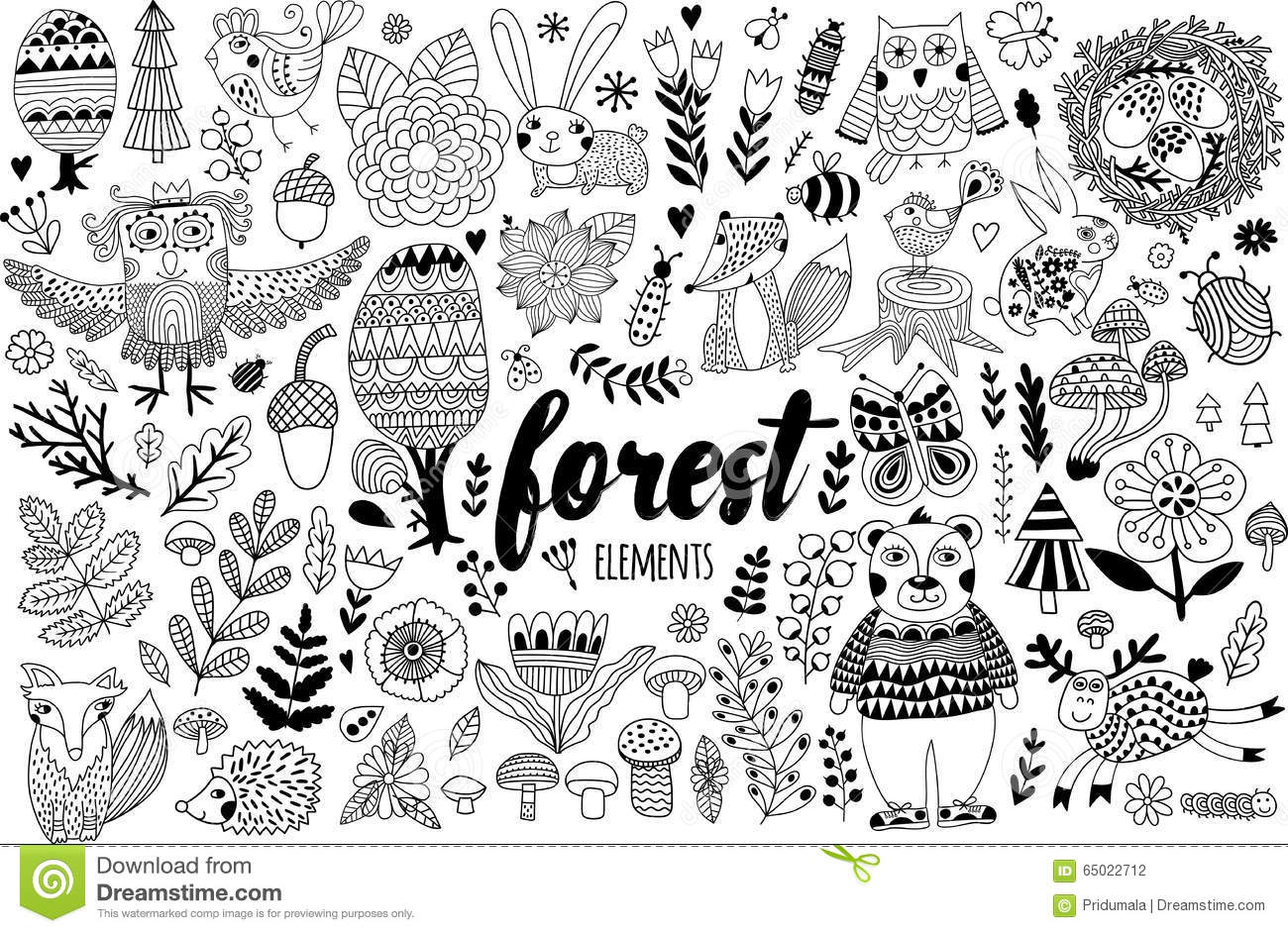 Vector Forest Elements In Doodle Childish Style Stock