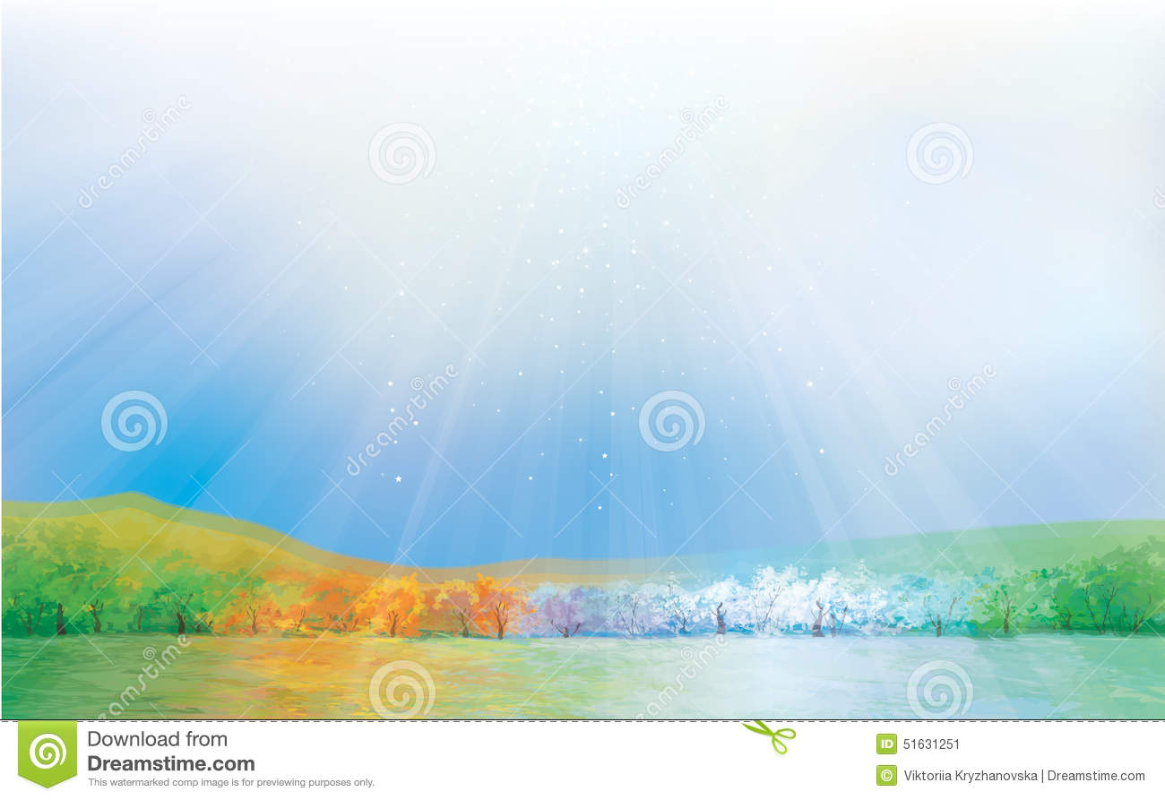 Vector Four Seasons Landscape Stock Vector Illustration Of Change