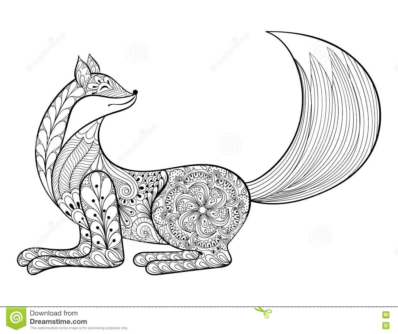 hand drawn zentangle artistic animal for adult antis stock vector illustration