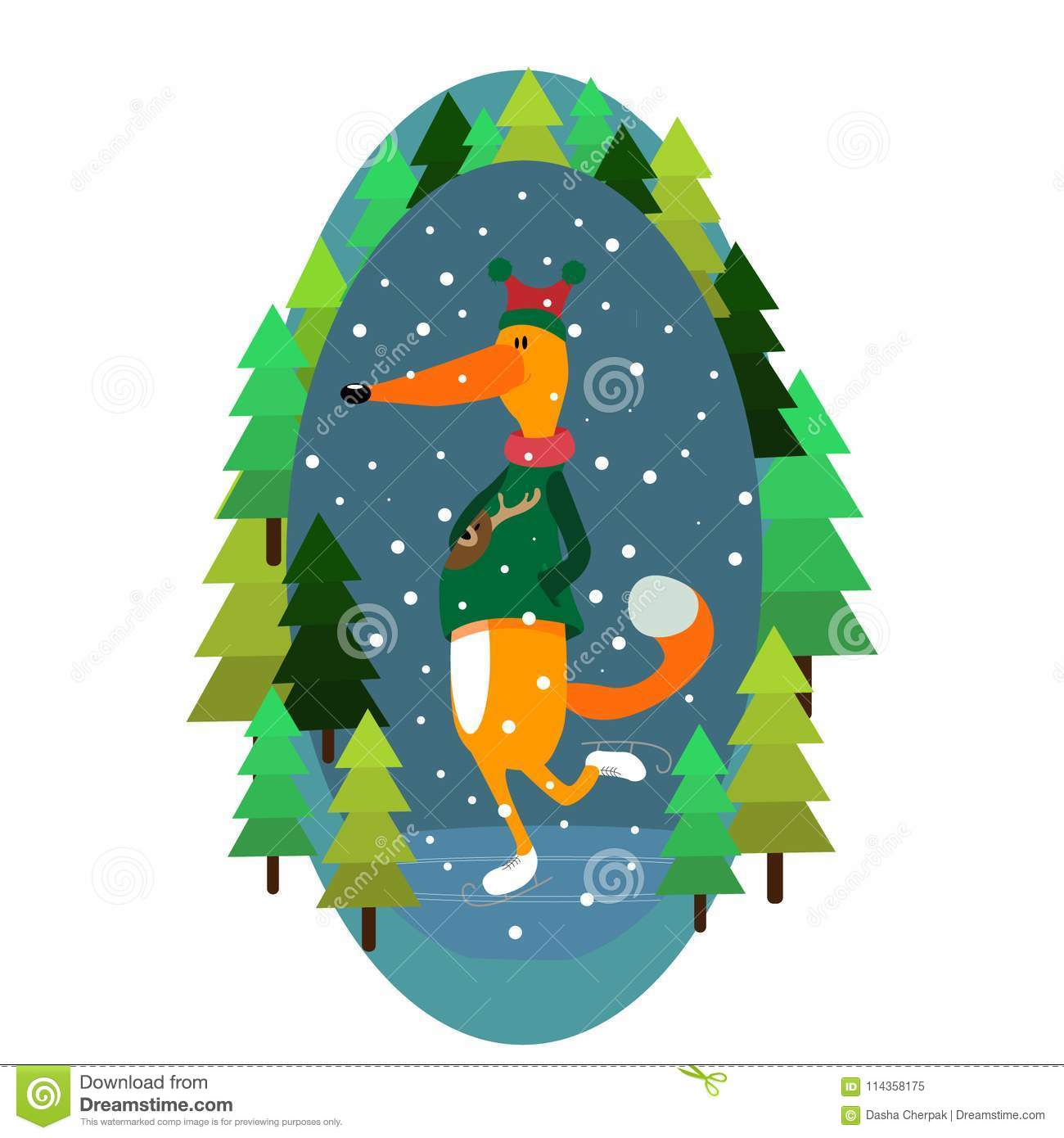 Vector fox illustration winter christmas new year snow skates forest cheerful picture color illustration