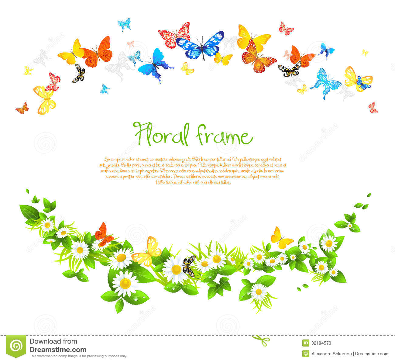 Vector Frame With Beautiful Butterflies And Daisy Stock Photos - Image ...