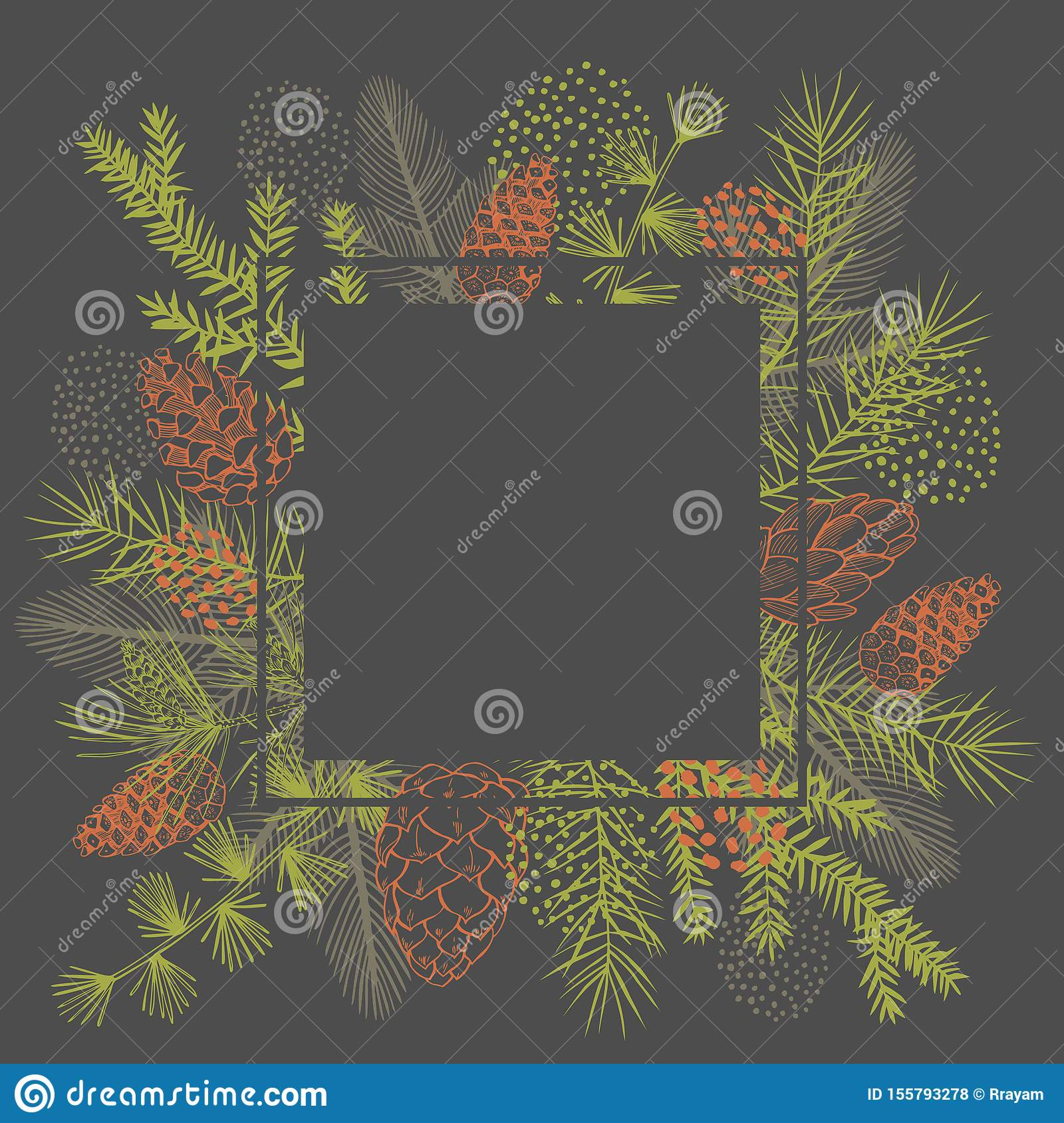 Vector frame with Christmas plant.