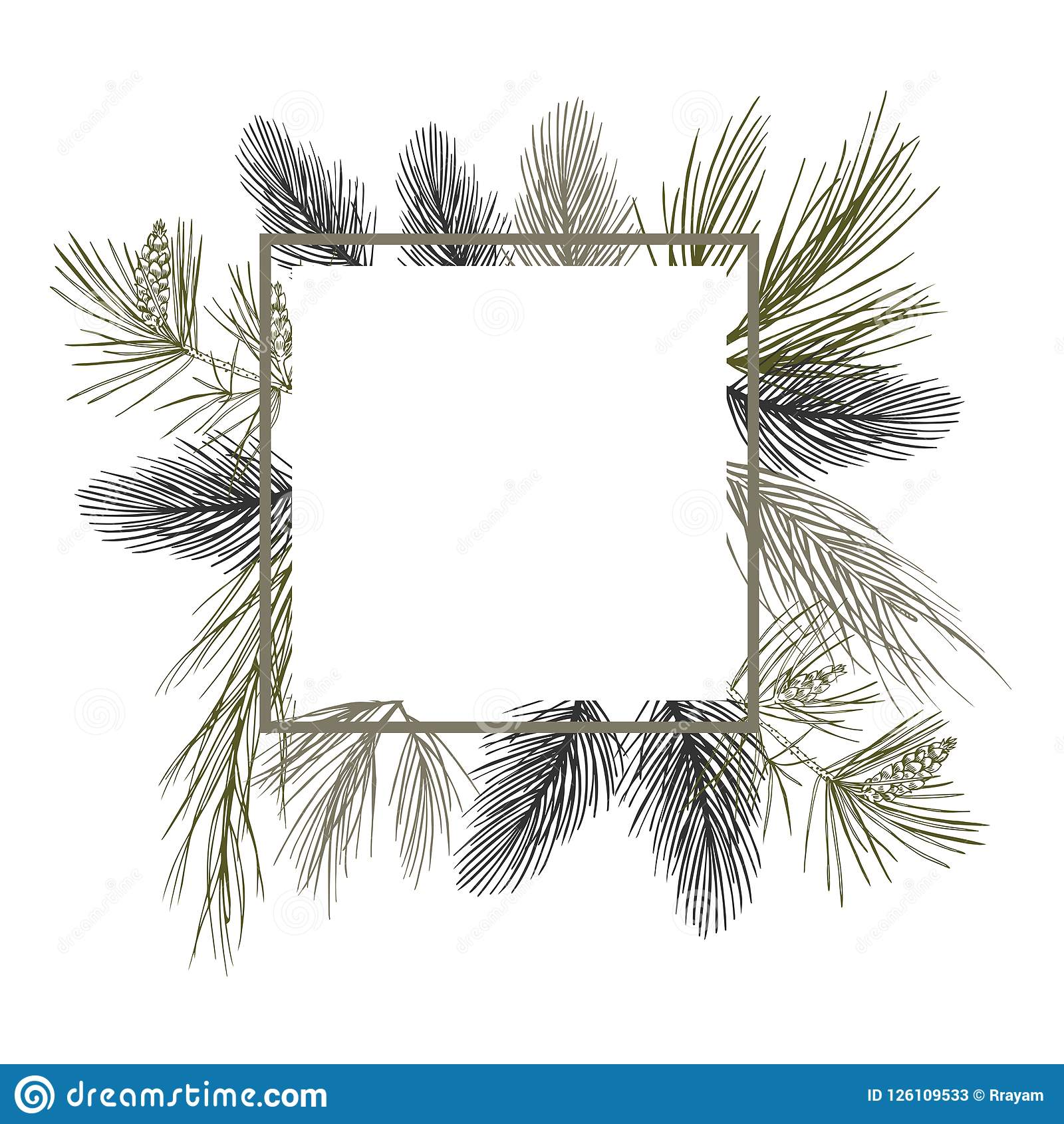 Vector frame with Christmas plant. Hand-drawn ilustration.
