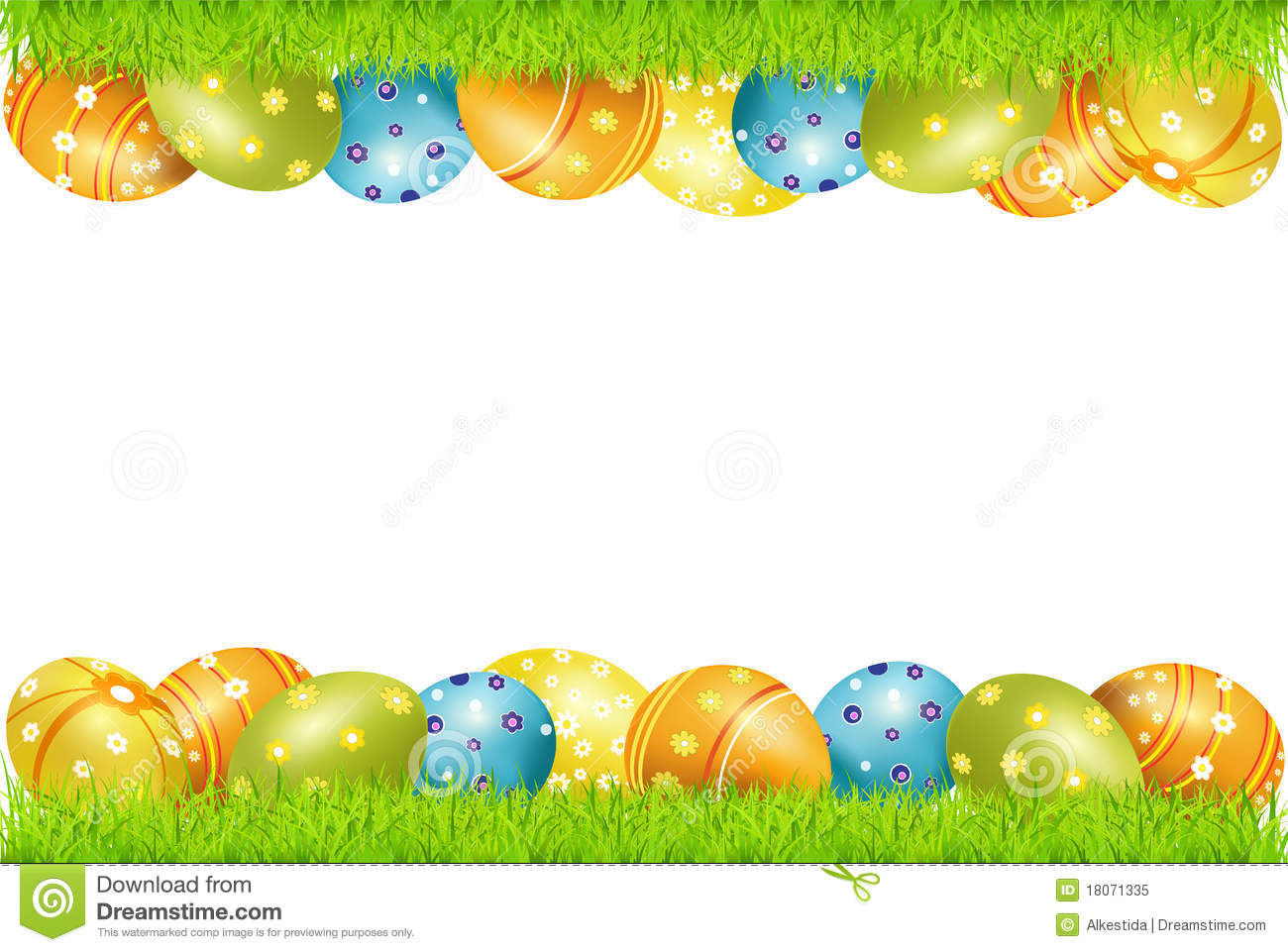 Vector Frame Of Easter Eggs And Green Grass Stock Vector