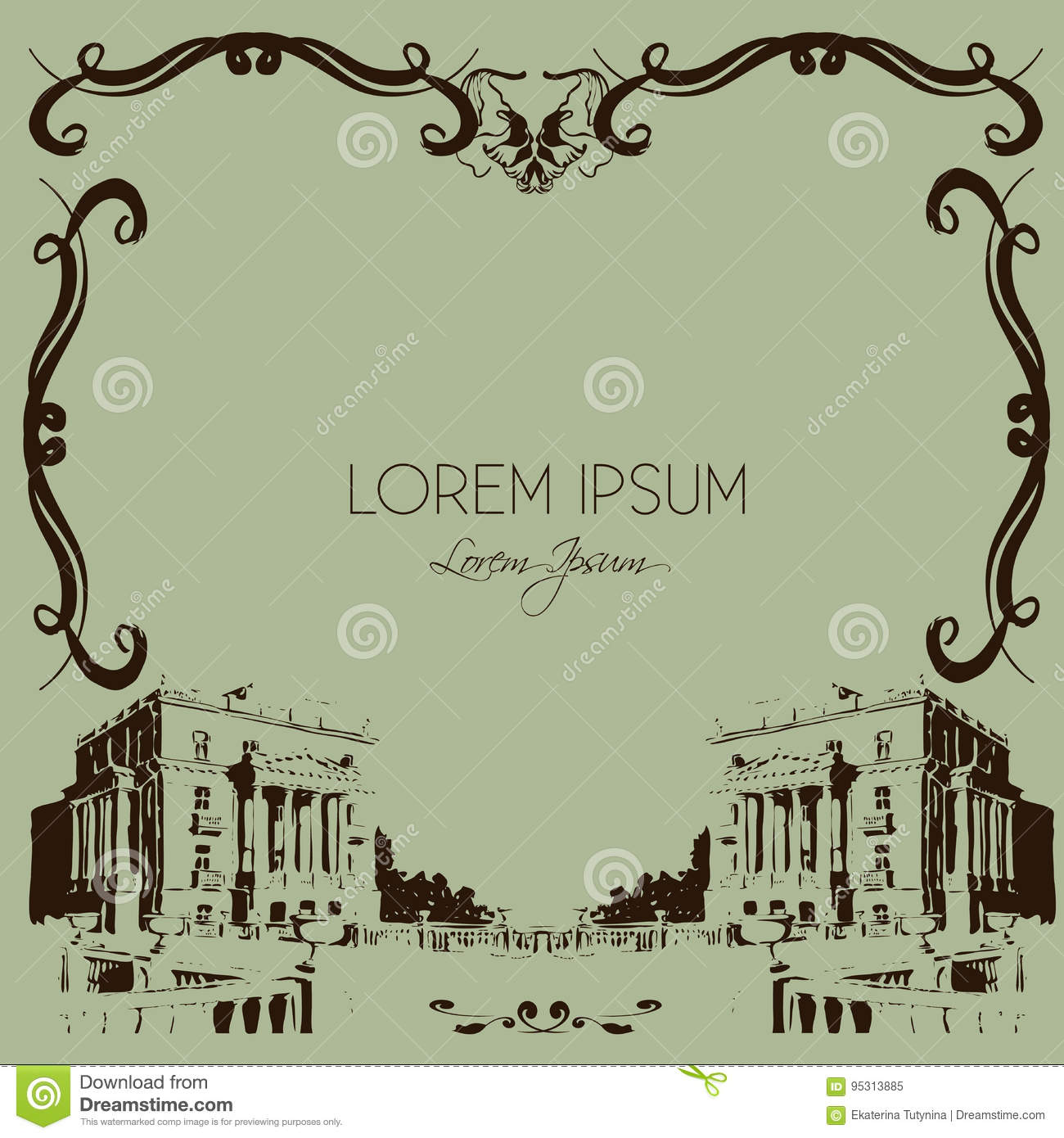 Vector frame with floral elements and classical facade