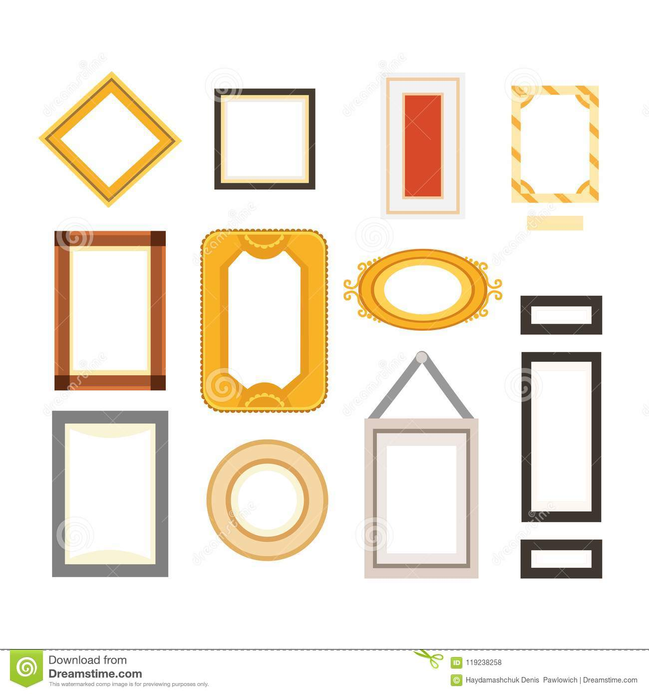 Vector Frame Gallery Set Collection. Rectangular And Square Art ...