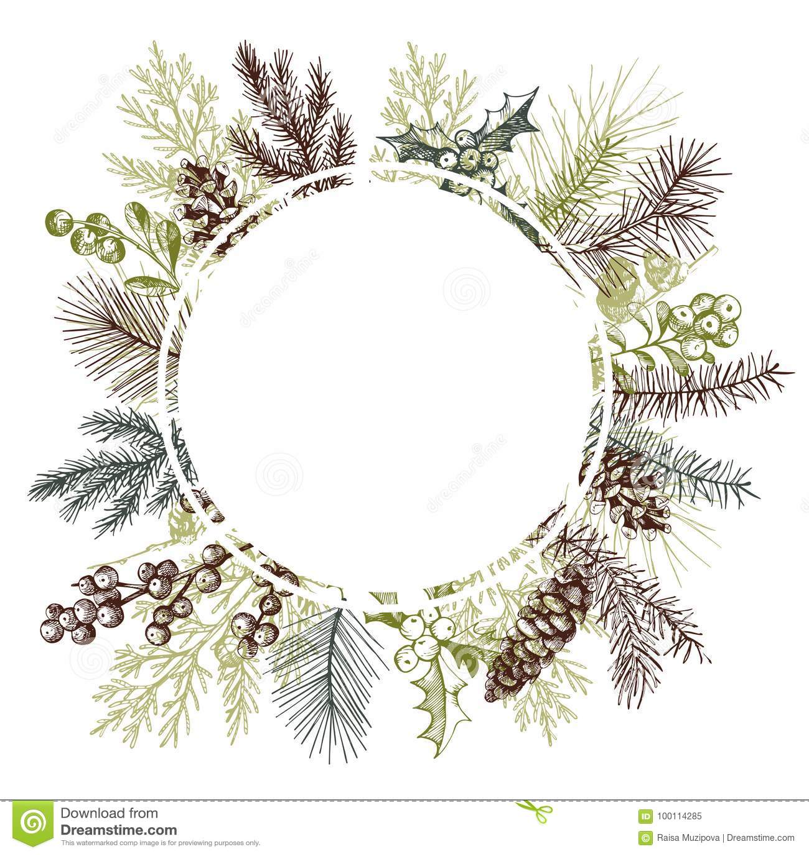 Vector frame with hand drawn Christmas plants