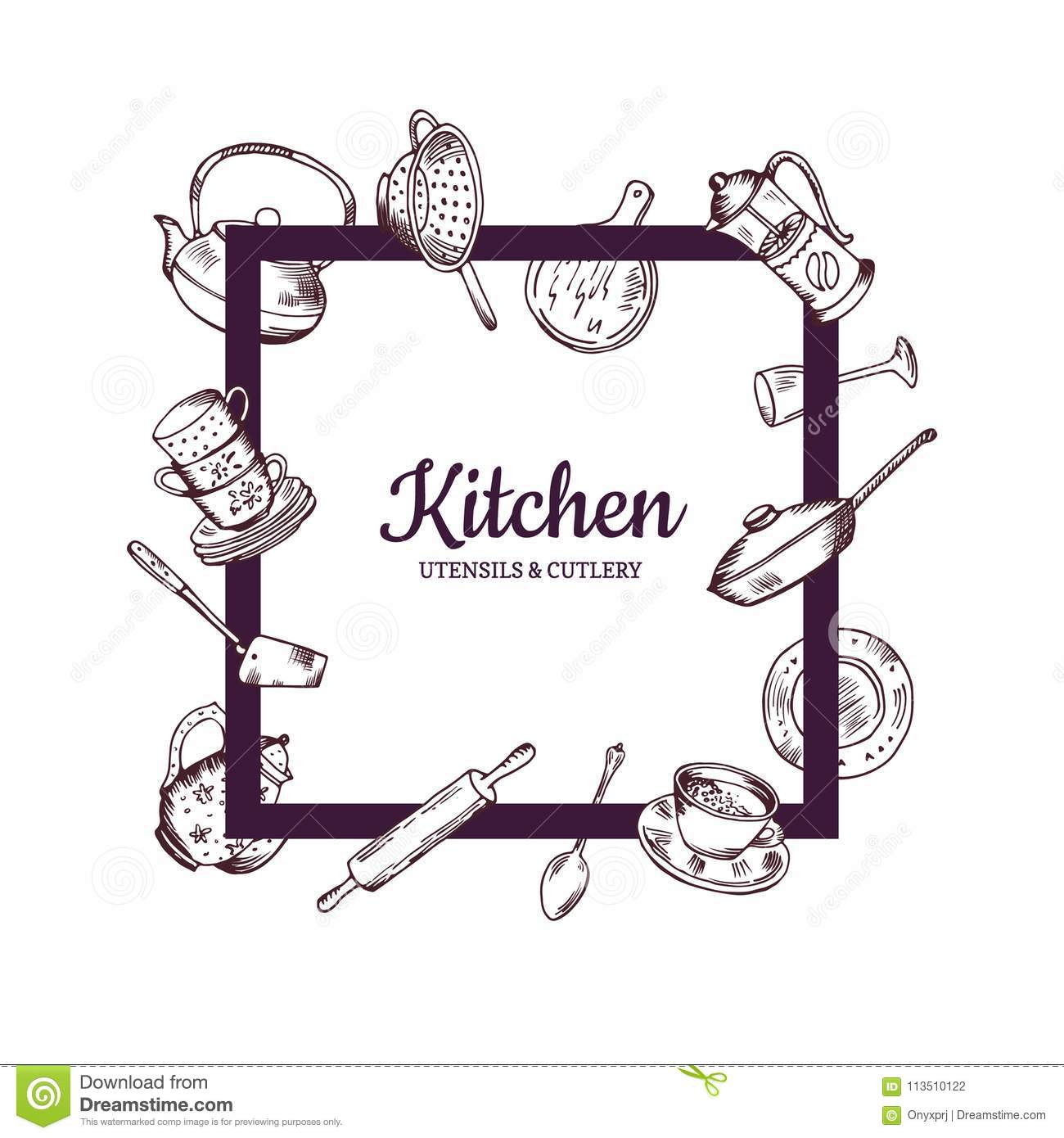 Vector Frame With Hand Drawn Kitchen Utensils Stock Vector