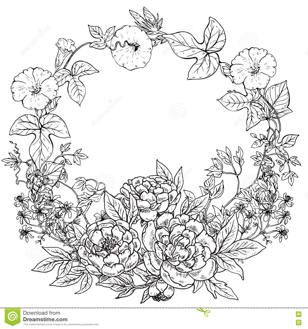 Vector Frame With Hand Drawn Wreath Of Peony Flowers And Plants