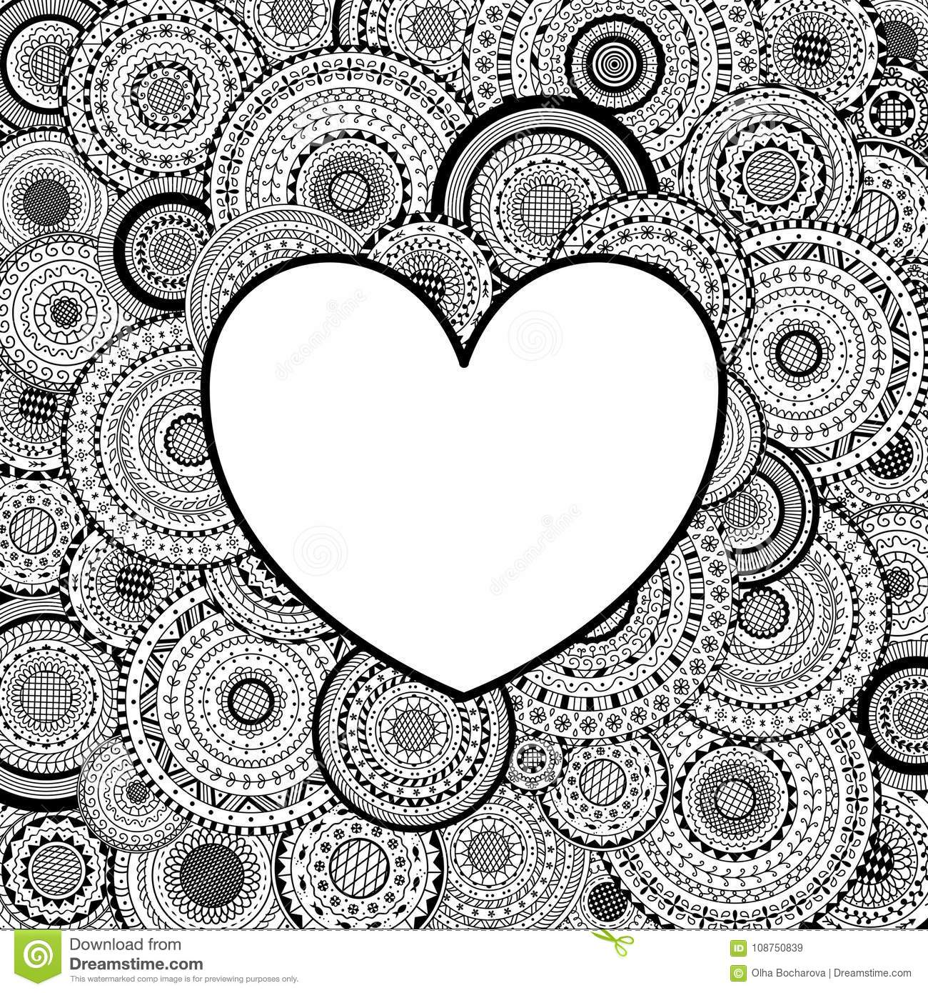 Vector Frame In Heart Shape On Mandala Background. Coloring Page ...