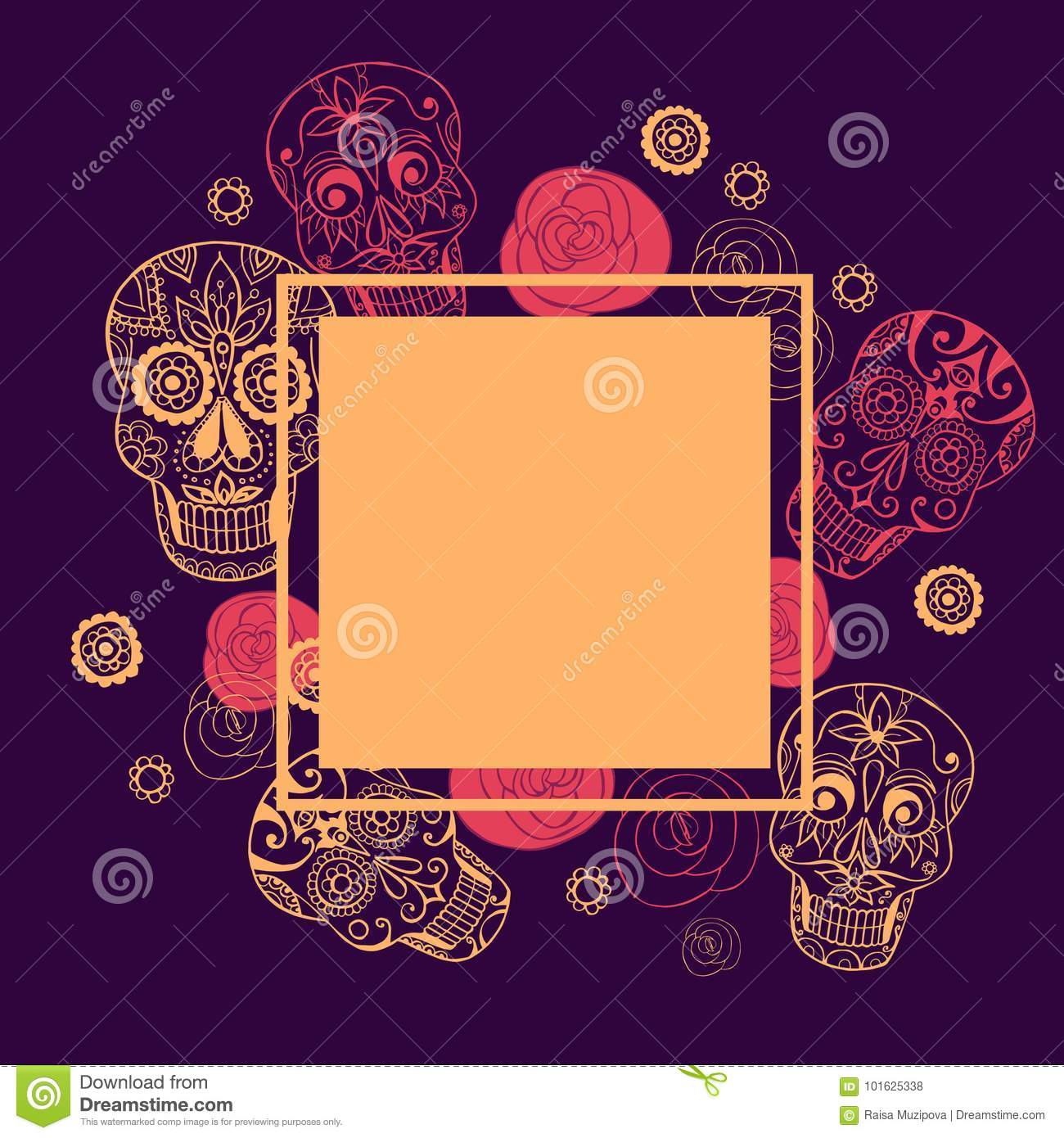 Frame With Skulls Day Of The Dead Stock Vector Illustration Of