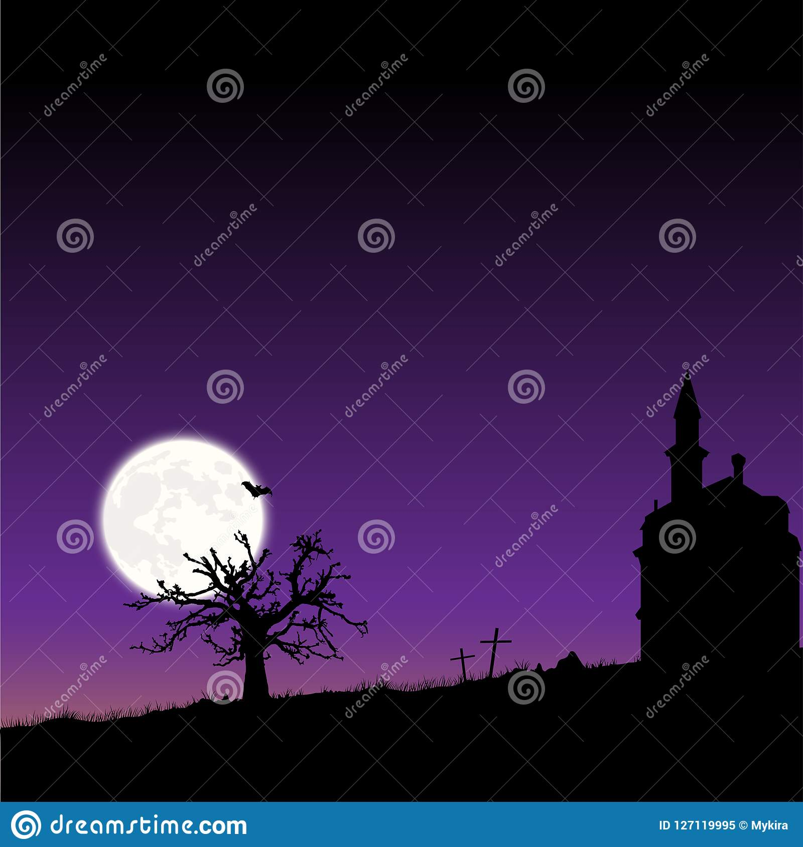 Vector Frame With Moon Night Halloween Landscape Stock