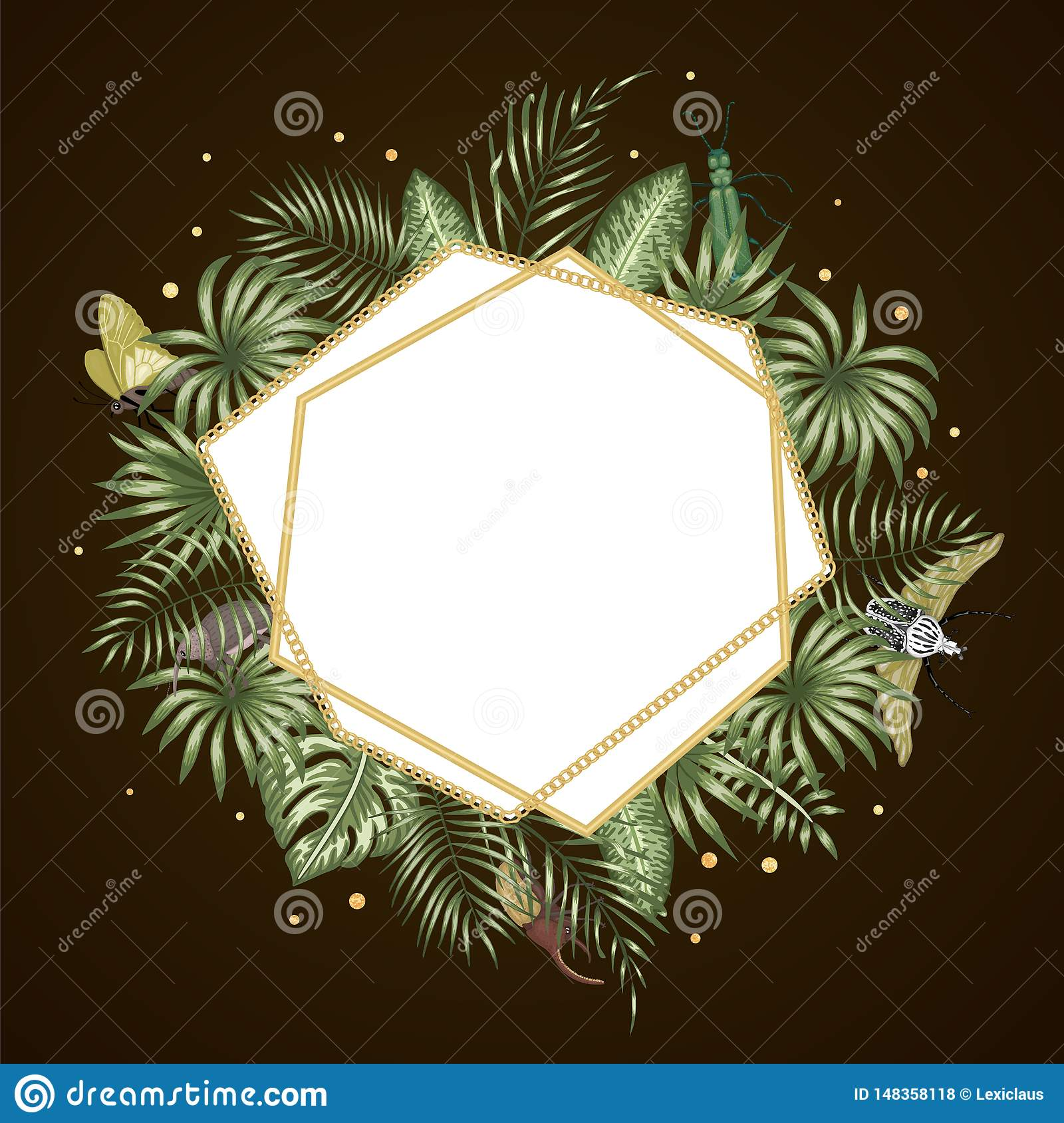 Vector frame template with tropical leaves