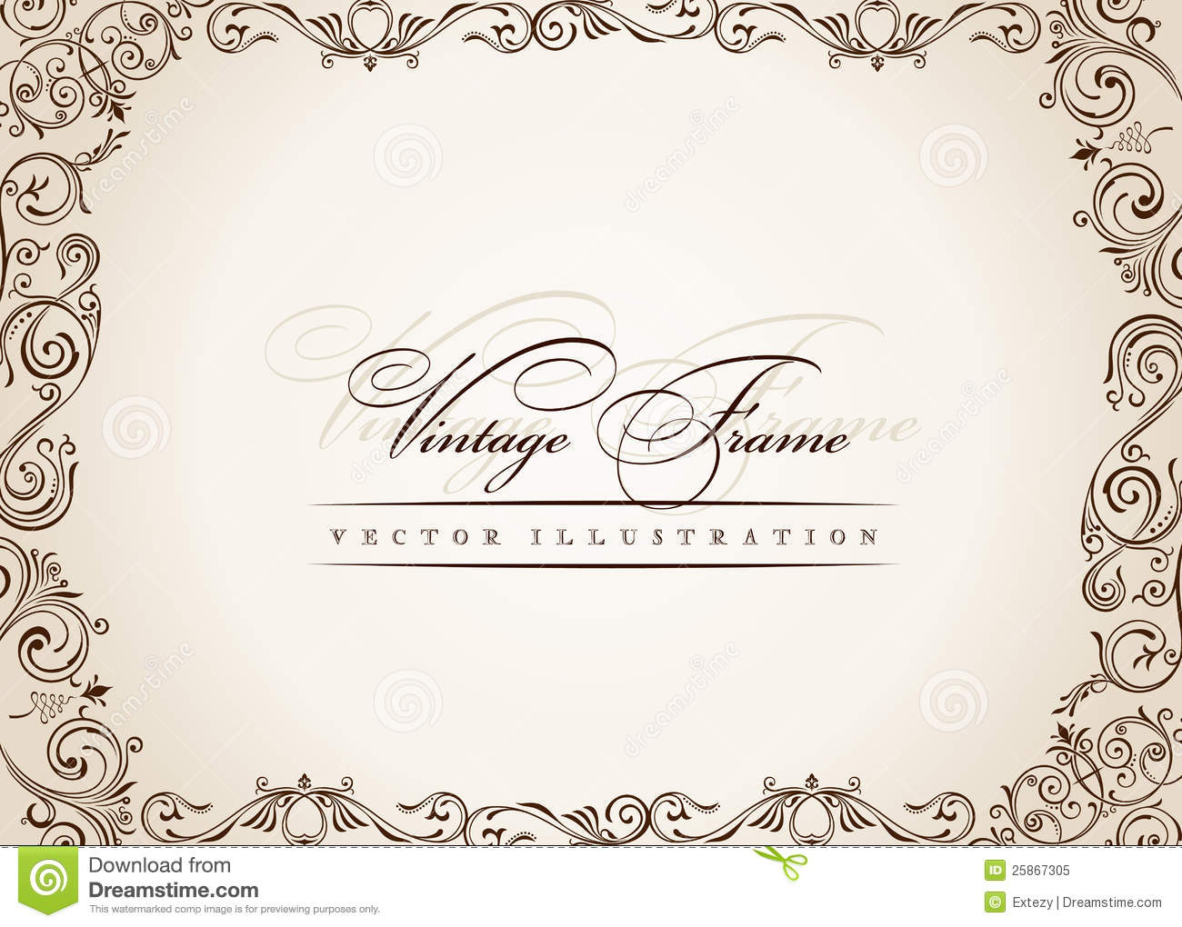 Vector Frame. Vintage Antique Floral Decor Stock Vector ...