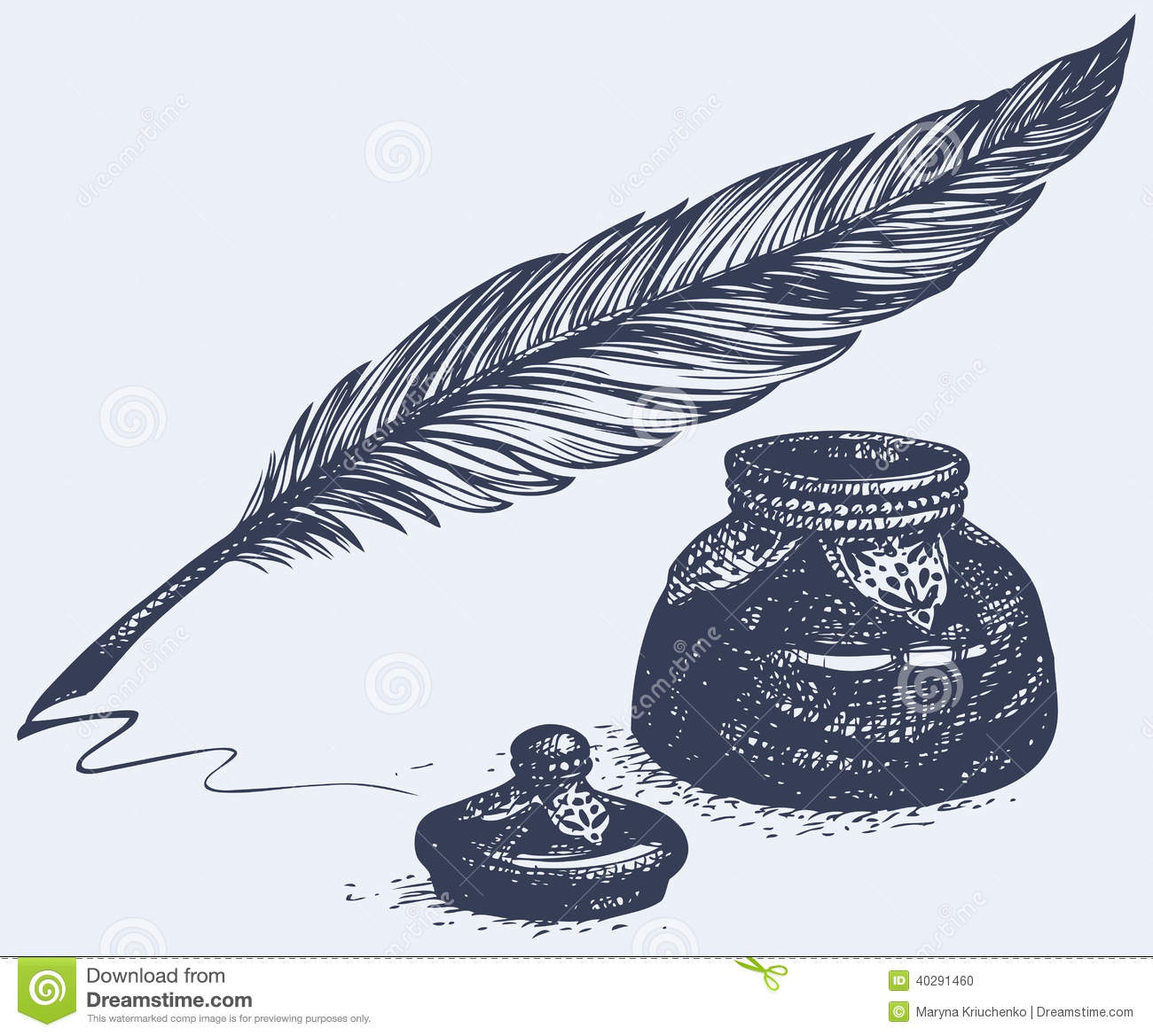 Quill And Inkwell Drawing Vector Freehand Drawin...