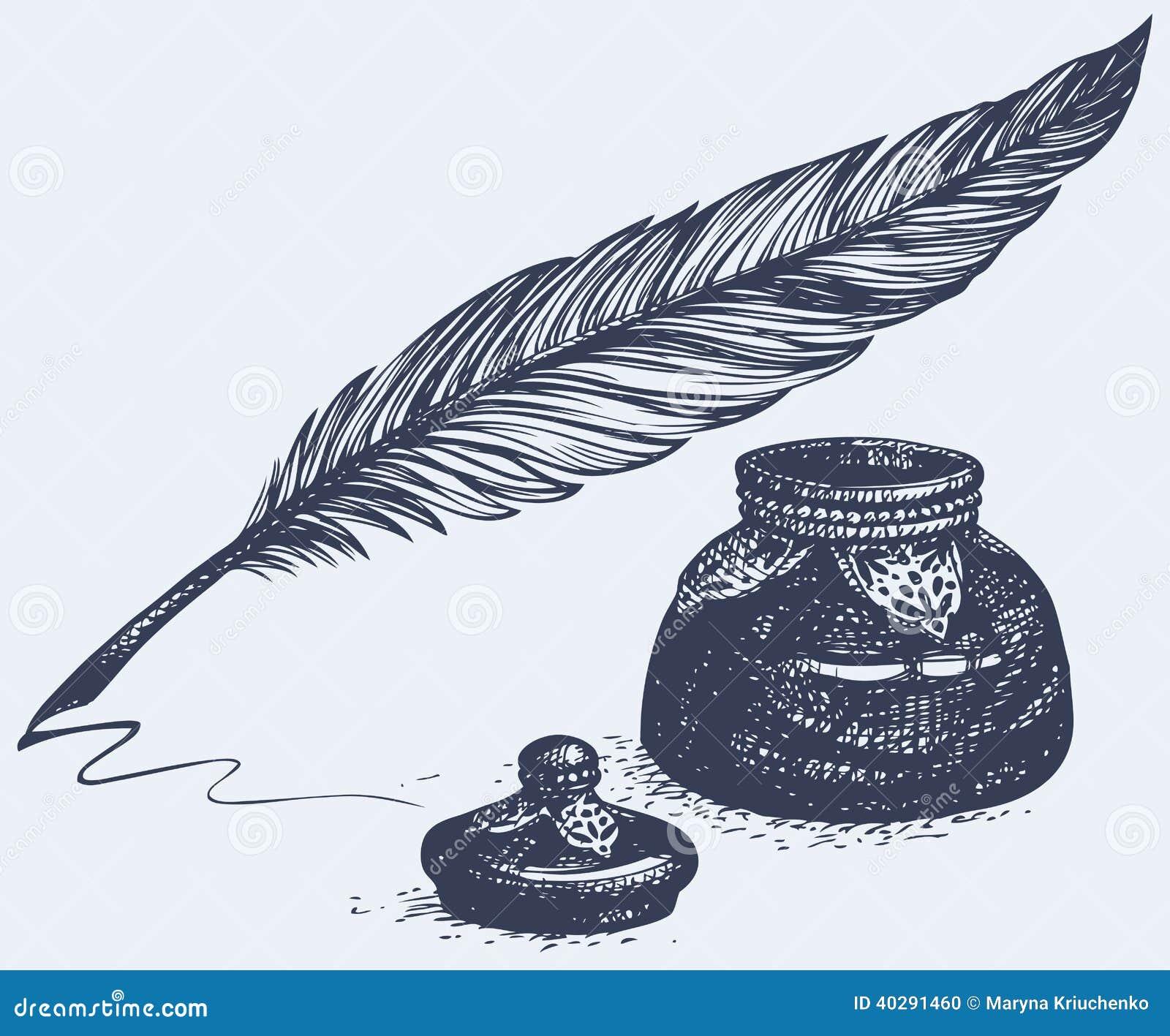 Vector Freihandzeichnenzeichnung des alten Stiftes und des Tintenfasses