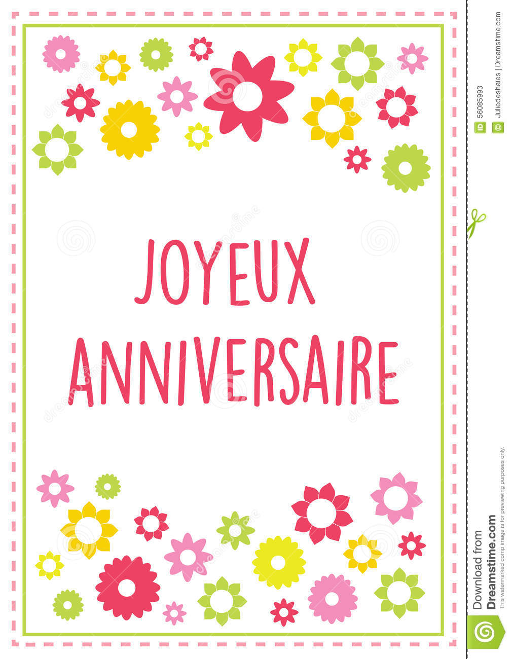 Happy Birthday Ecard In French Vector Illustration Greeting Card Stock