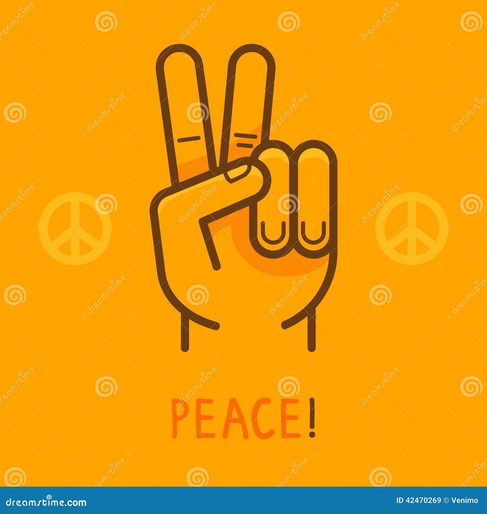 Vector Friedenszeichen - übergeben Sie das Zeigen von zwei Fingern
