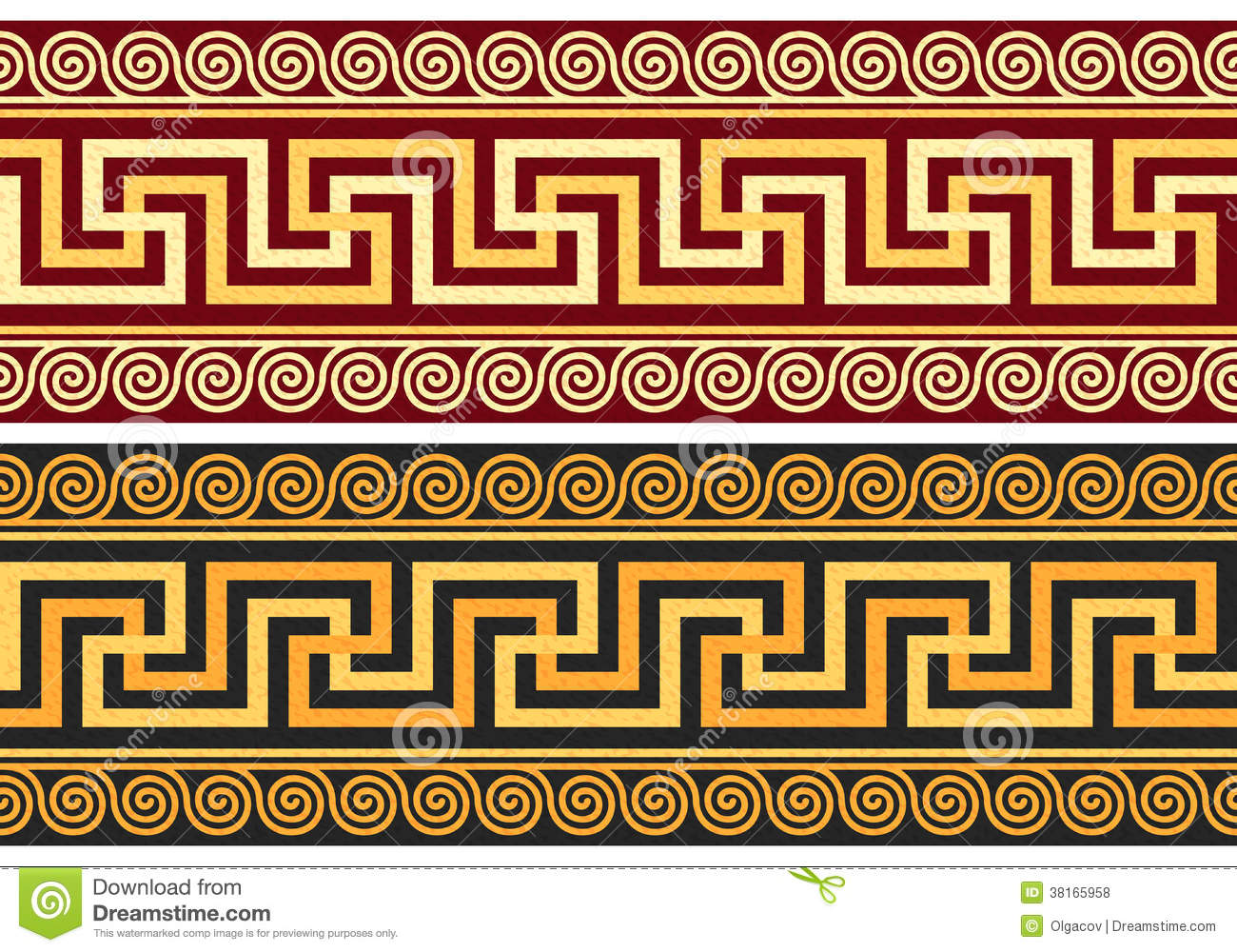 Vector Frieze With Greek Ornament Meander Stock Vector