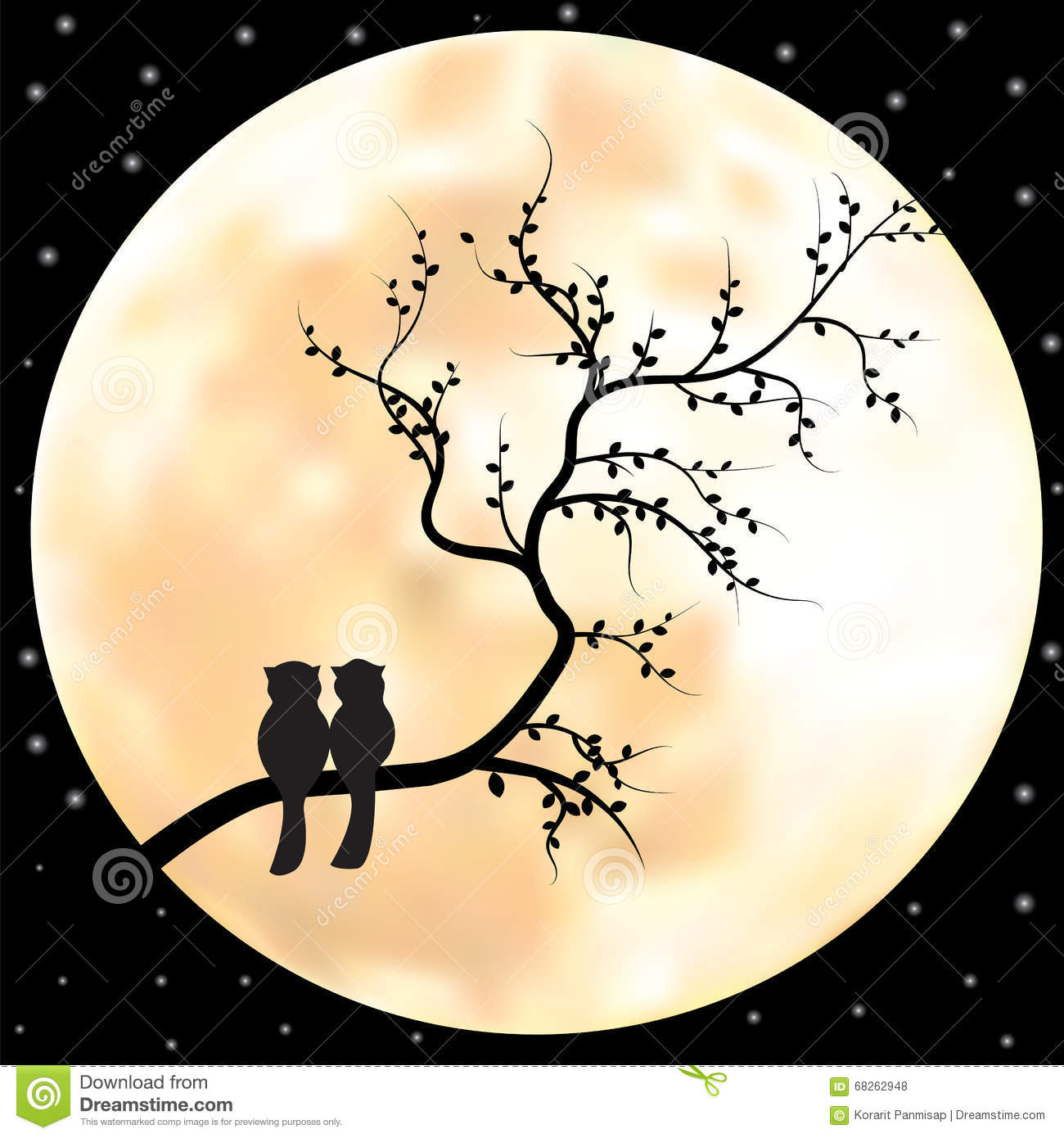 Vector Full Moon Illustration With Stars And Trees Stock ...