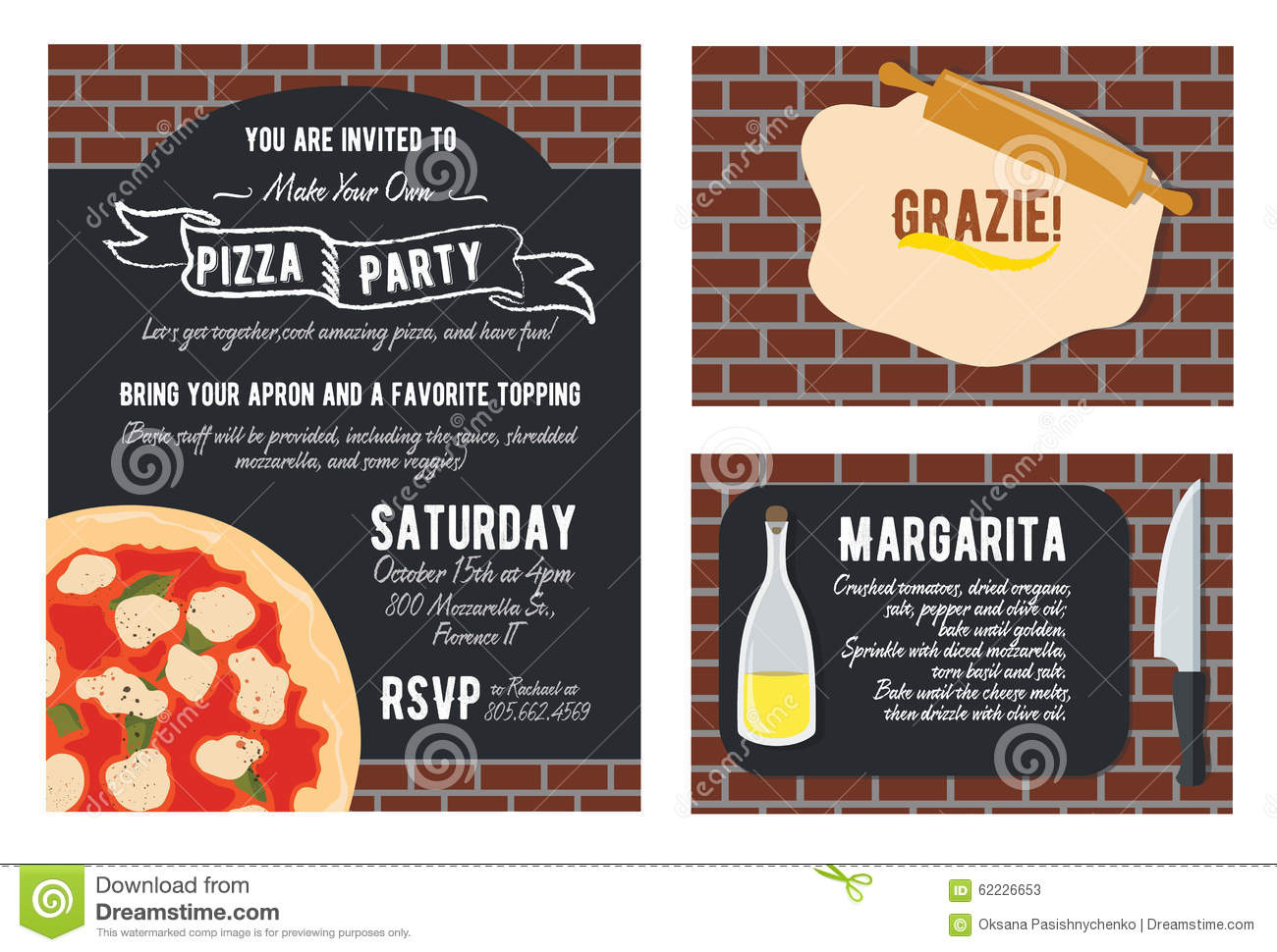 Vector Make Your Own Pizza Party Invitation Set Vector – Make Your Own Pizza Party Invitations