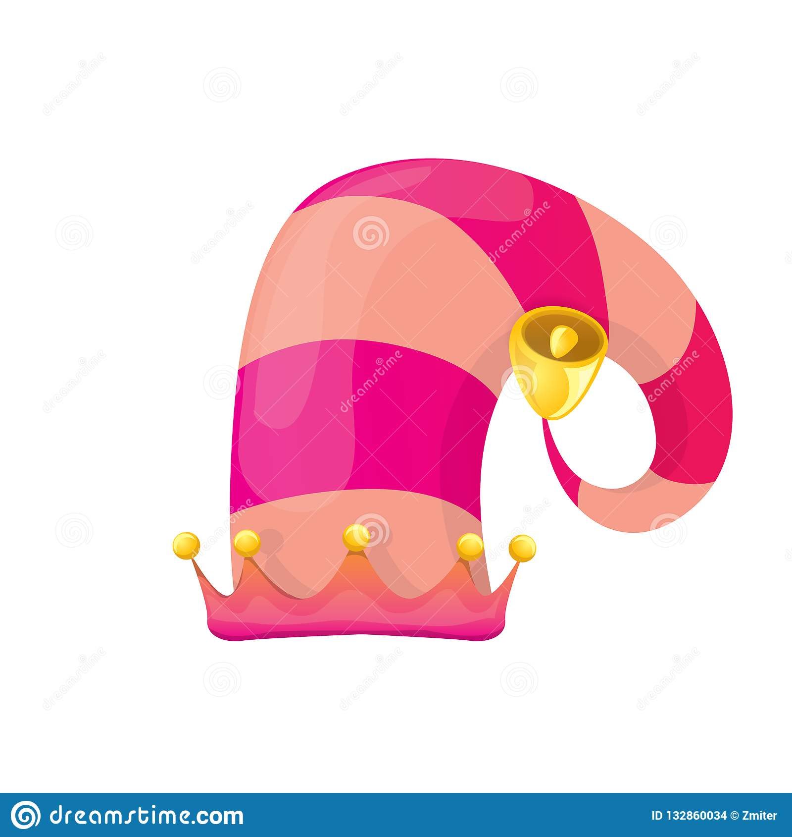 Colorful Christmas Background For Kids.Vector Funky Pink Stripped Cartoon Christmas Elf Hat